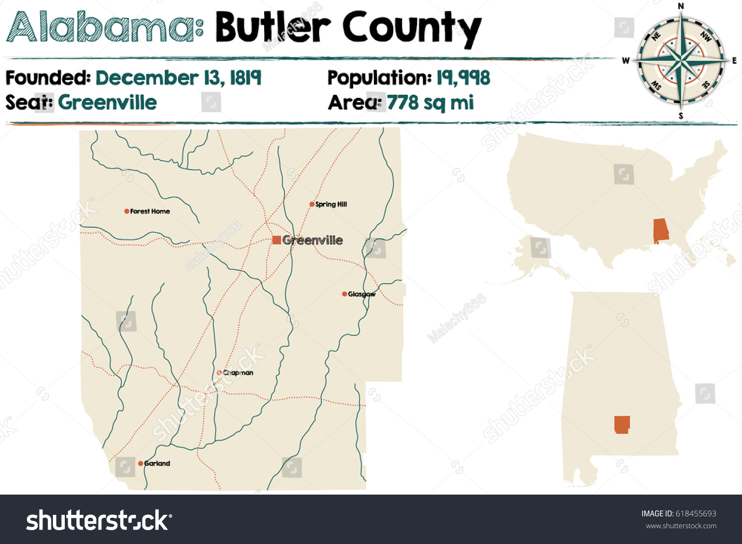 Large Detailed Map Butler County Alabama Stock Vector 618455693