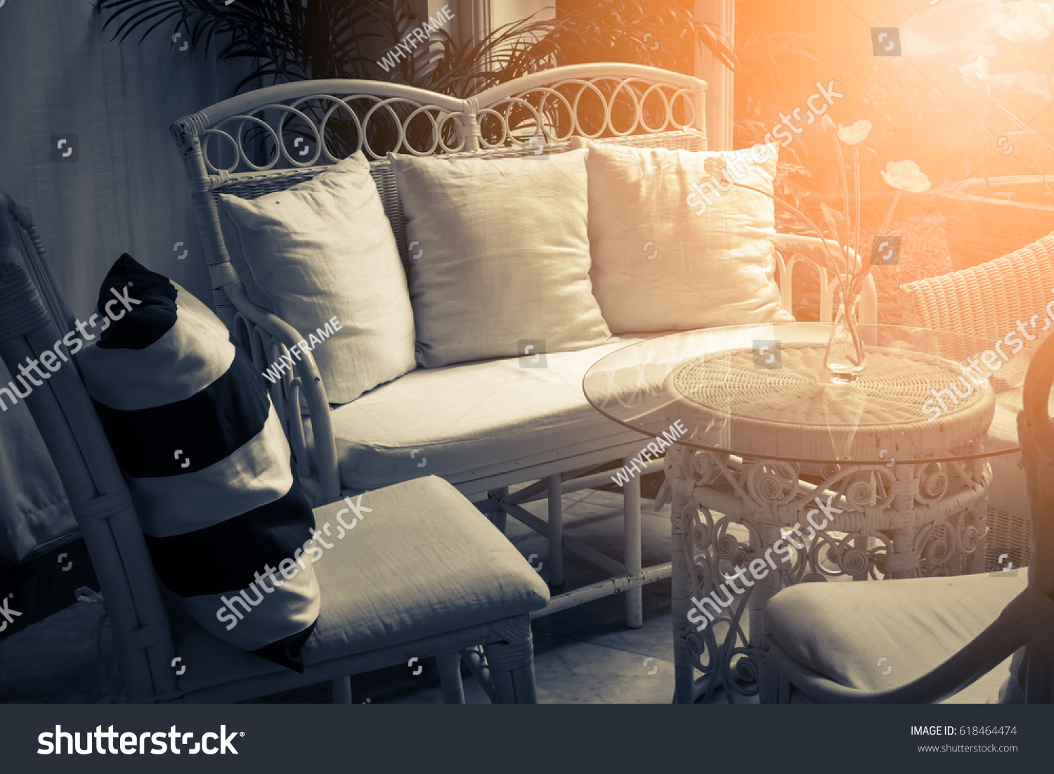 Furniture Lounge Group With Chairs Sofa And Table In A Patio With View Of  Garden Background