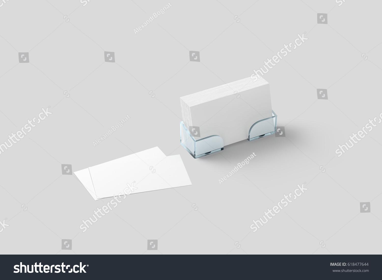 White Business Card Mockup Acrylic Holder Stock Illustration ...
