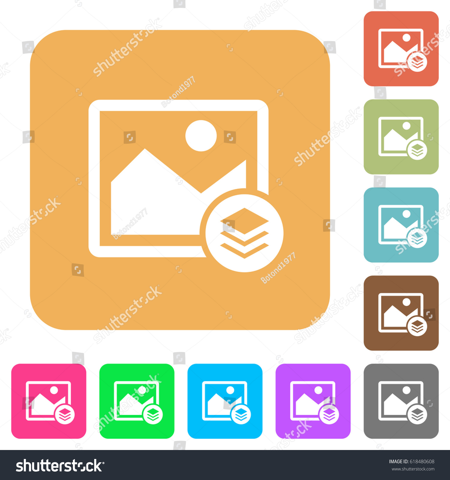 Image Layers Flat Icons On Rounded Stock Vector Royalty Free