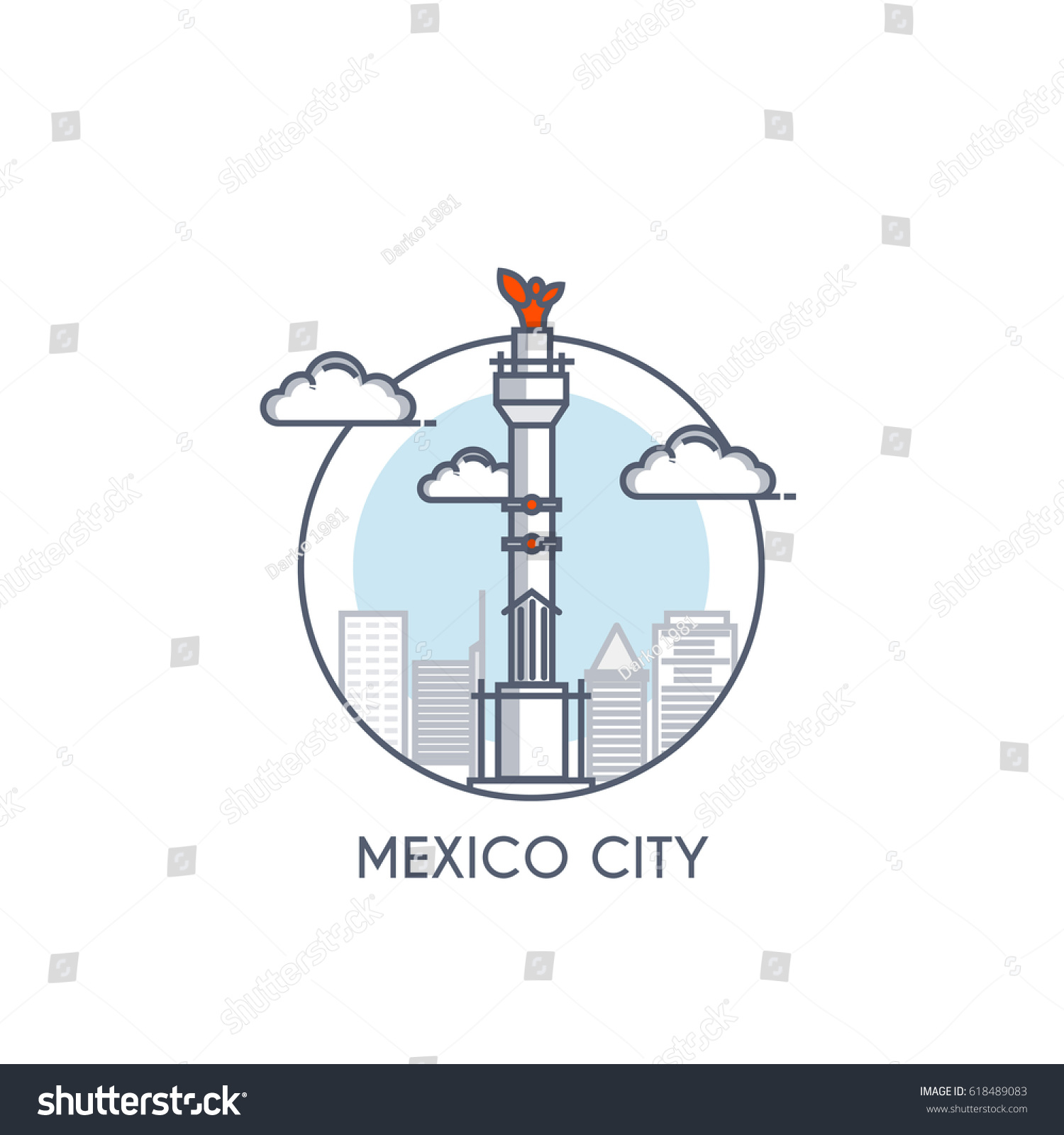 Mexico City Flat Line Color Icon Stock Vector Royalty Free