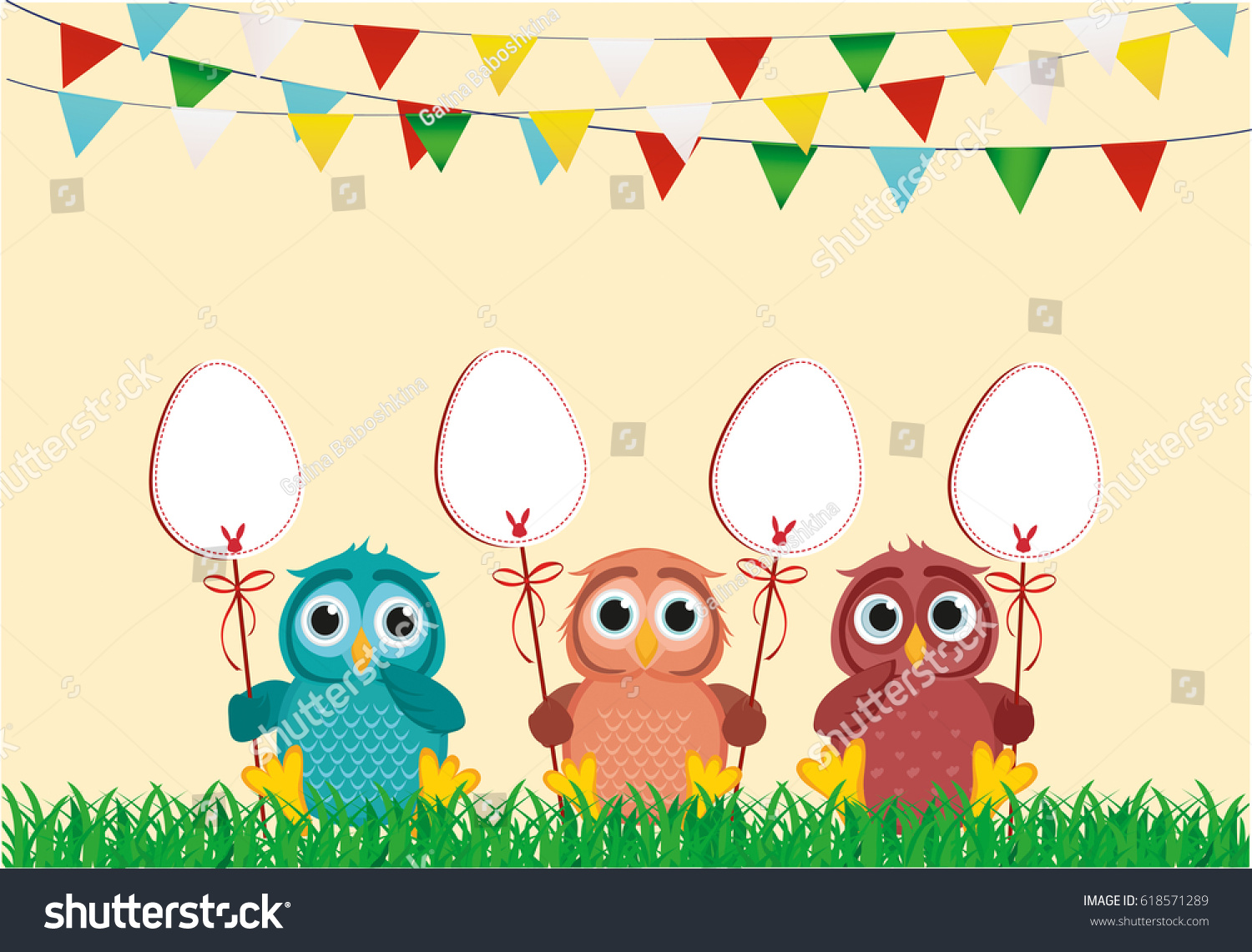 Vector bunting flags lovely celebration card with colorful paper - An Owl Is Holding An Easter Bunny From A Paper On A Stick Garland Of