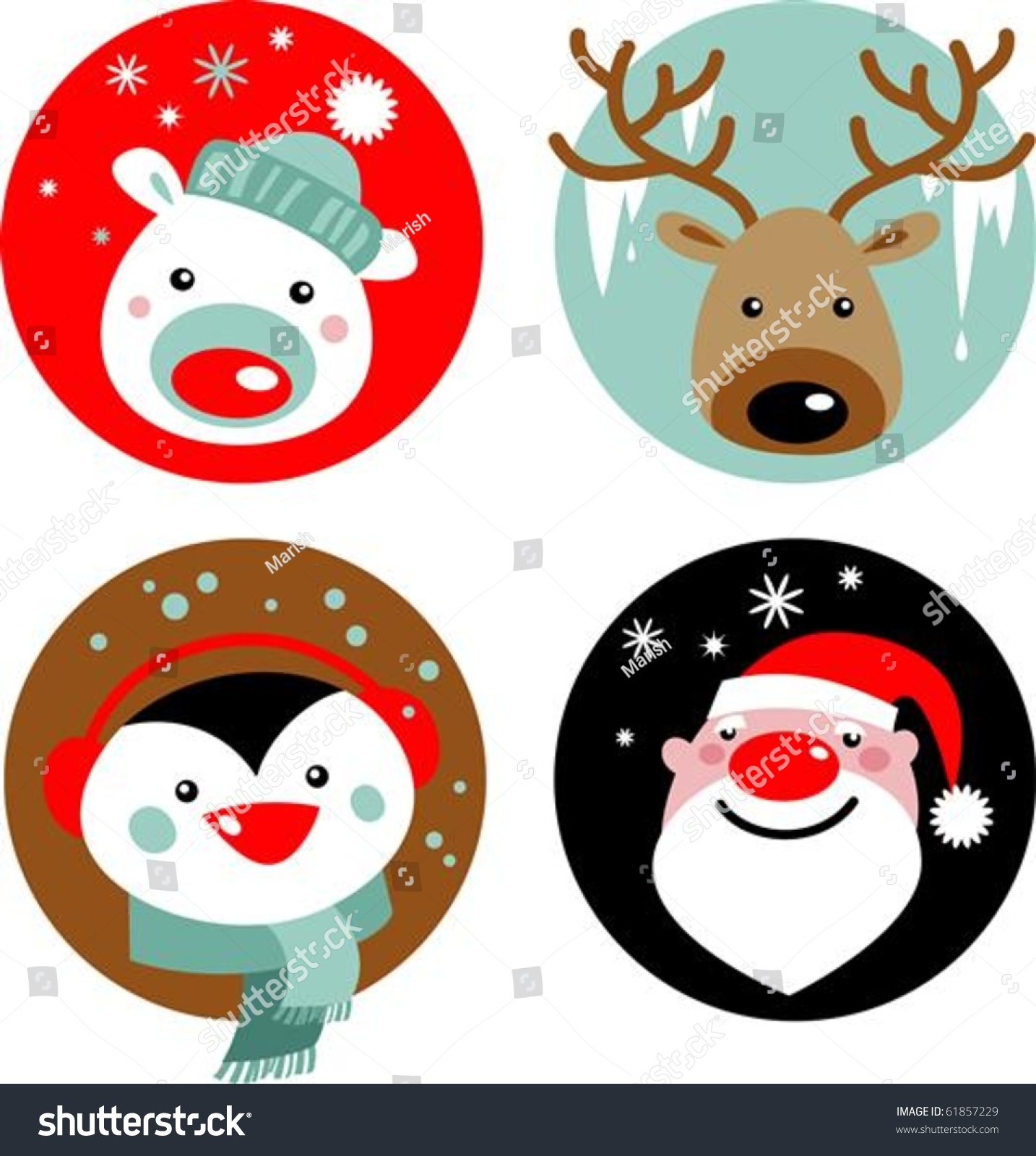Bear Wall Stickers Christmas Characters Santa Reindeer Penguin Polar Stock