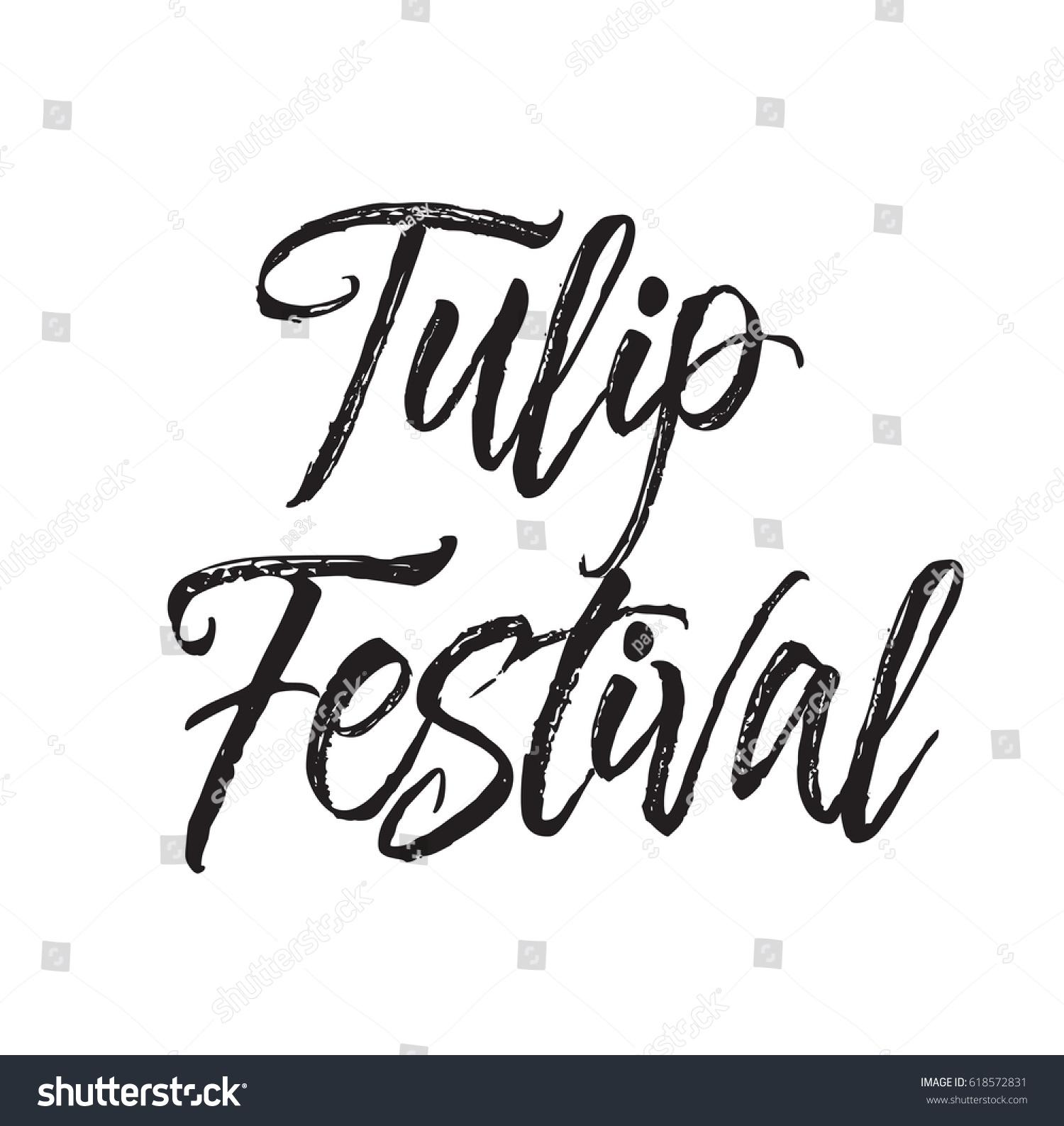 Tulip Festival Text Design Vector Calligraphy Stock Vector