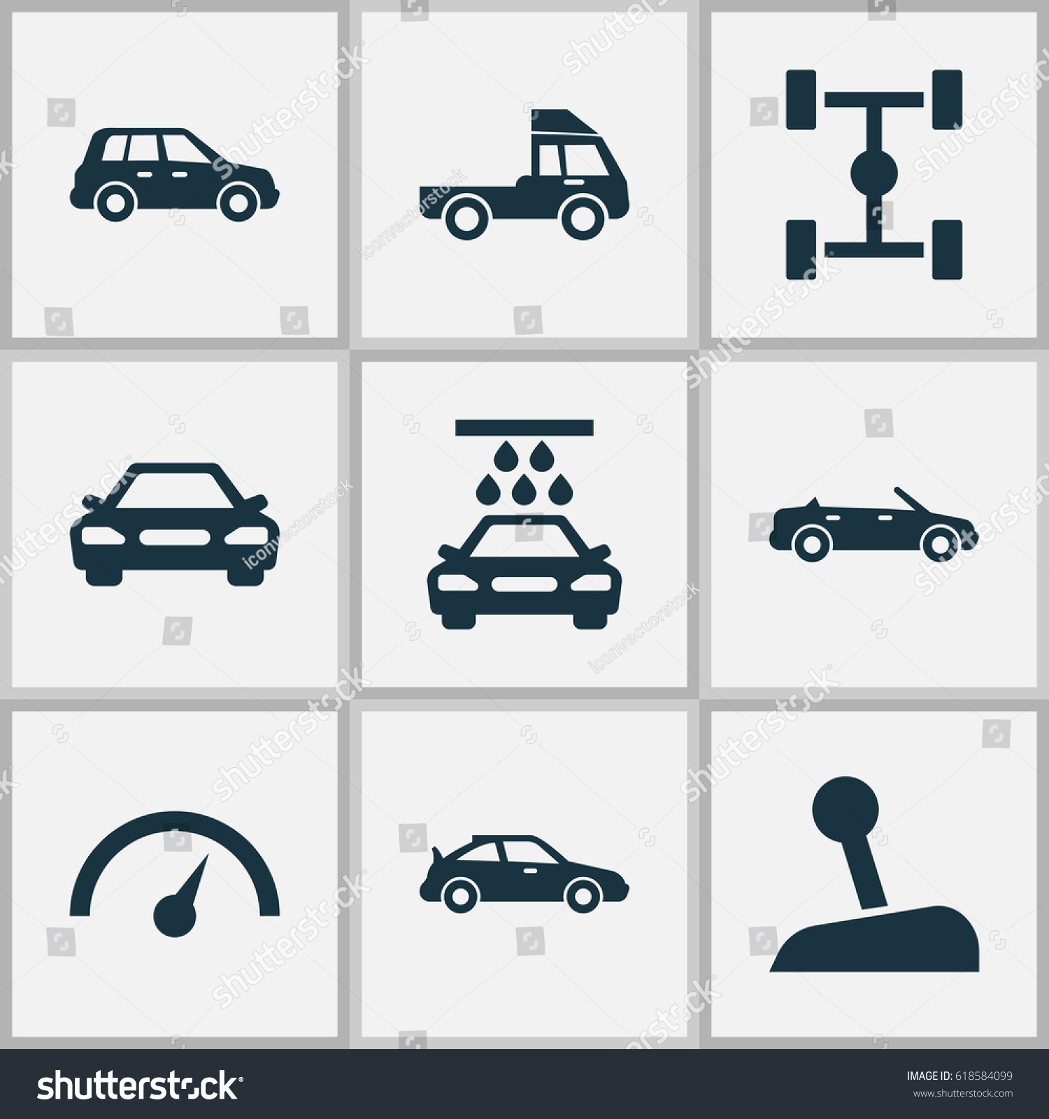 Car Icons Set Collection Stick Car Stock Vector (Royalty