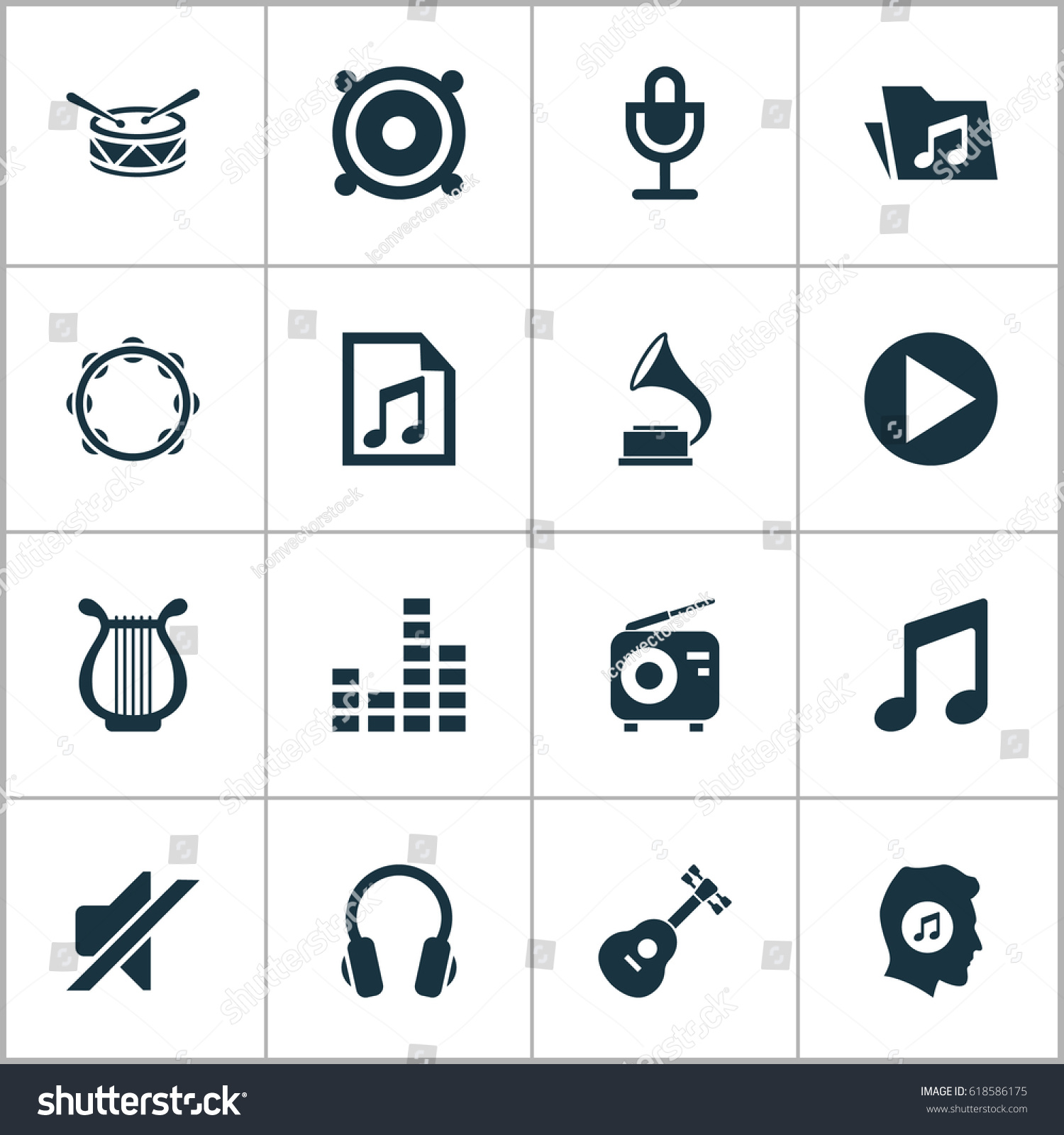 Music icons set collection dossier silence stock vector 618586175 music icons set collection of dossier silence meloman and other elements also biocorpaavc Image collections
