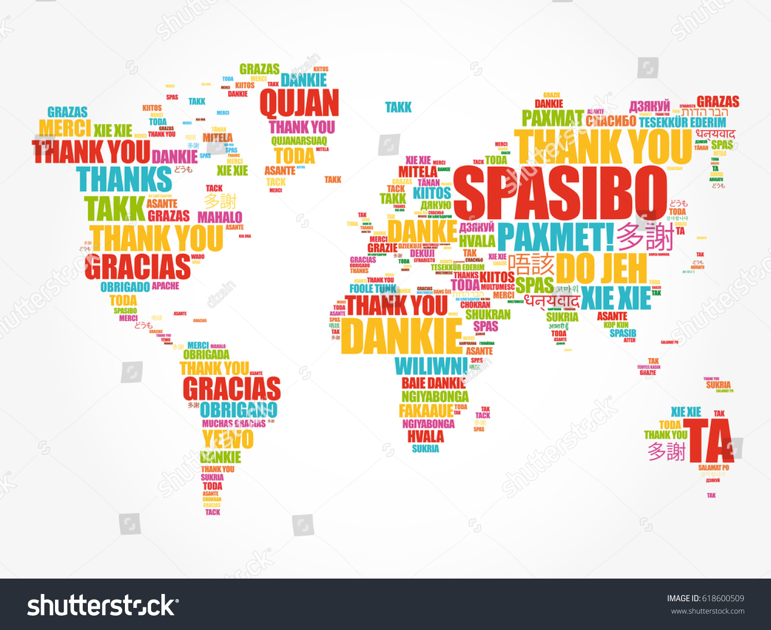 thank you in many languages world map in typography word cloud multilingual for education or