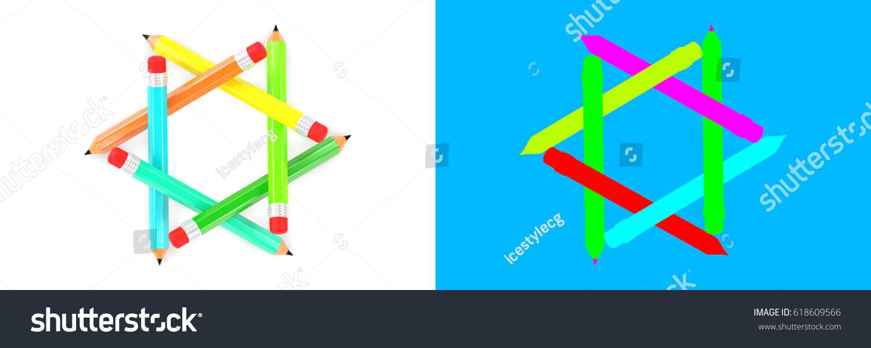 3 d rendering educational infographic design pencil stock