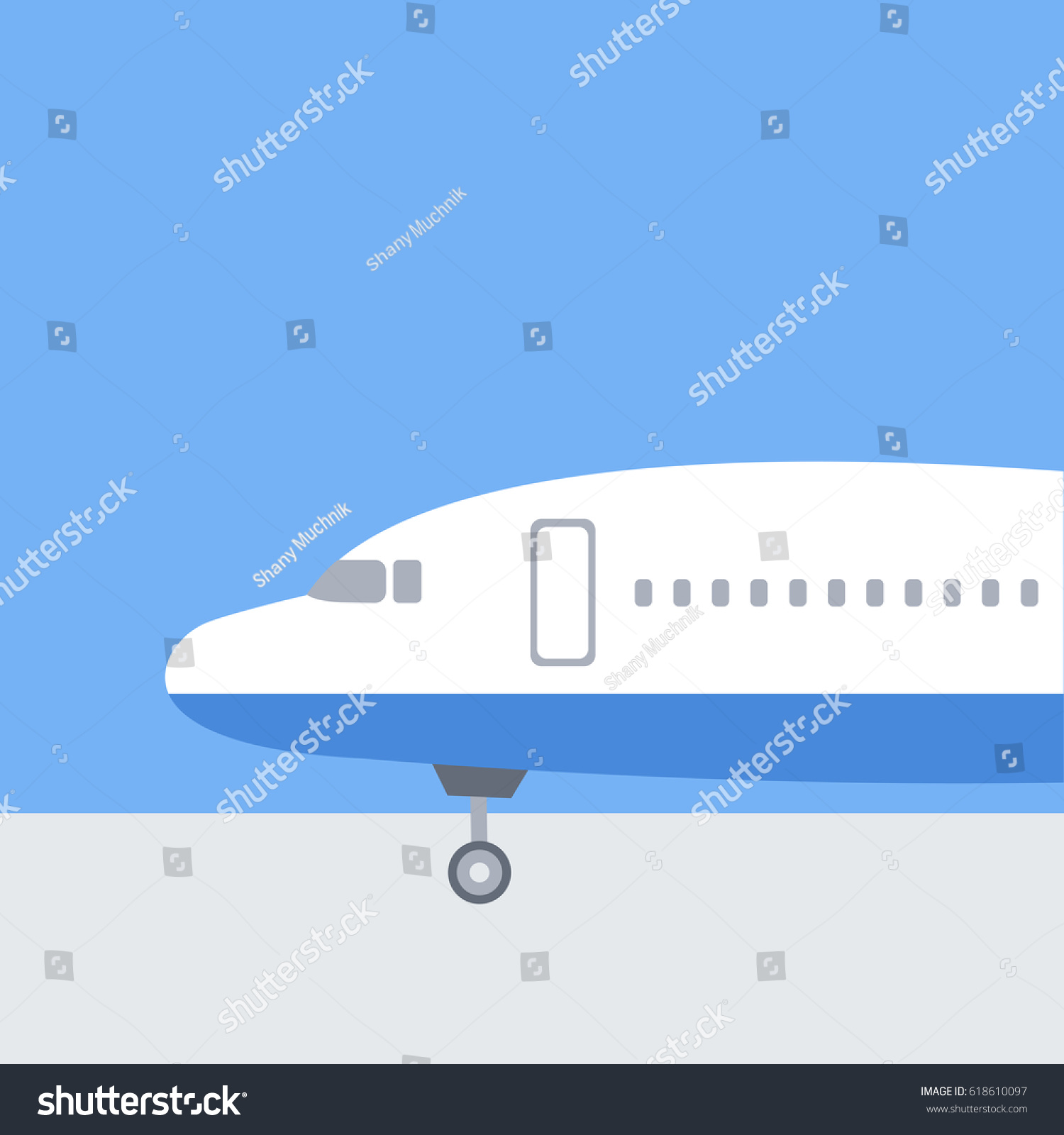 Front part airplane vector illustration parking stock vector front part of airplane vector illustration parking landed in airport blue flat design background jeuxipadfo Gallery