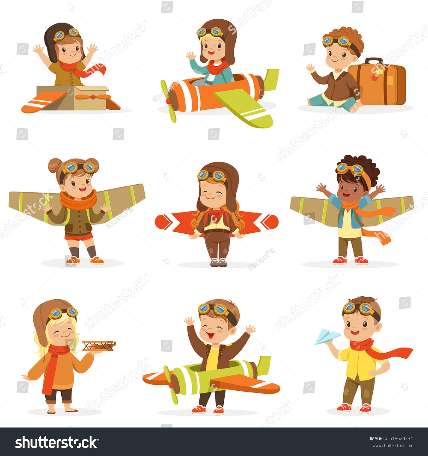 Small Children In Pilot Costumes Dreaming Of Piloting The Plane Playing With Toys Adorable Cartoon