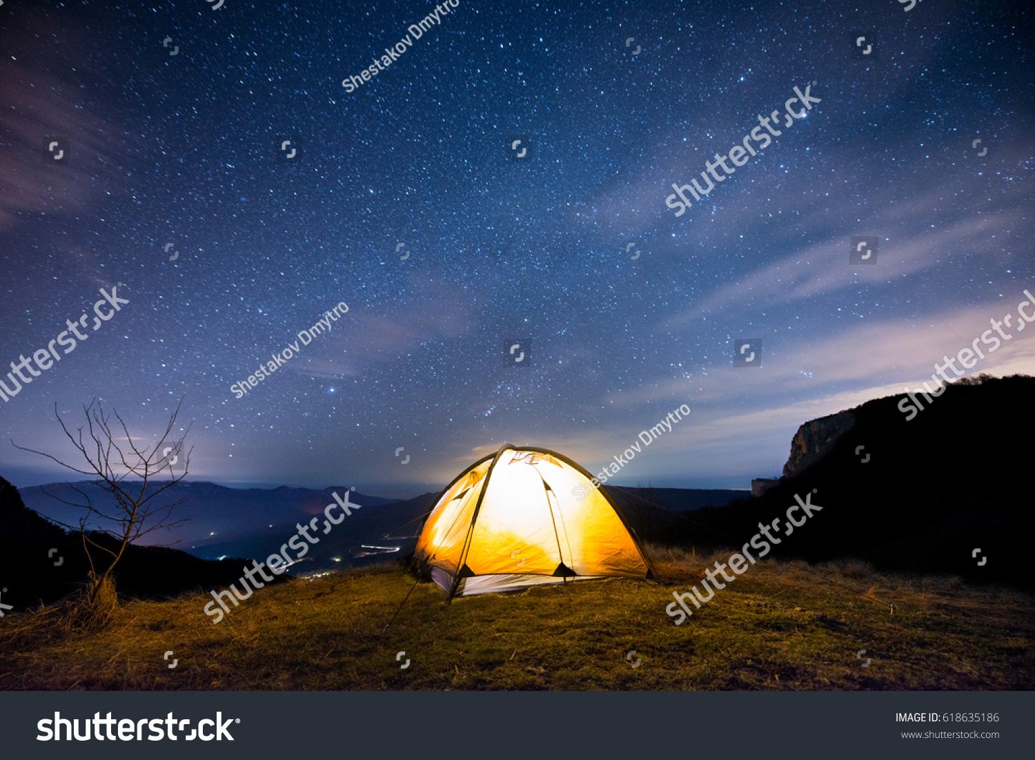 Glowing tent in the mountains under a starry sky & Glowing Tent Mountains Under Starry Sky Stock Photo 618635186 ...