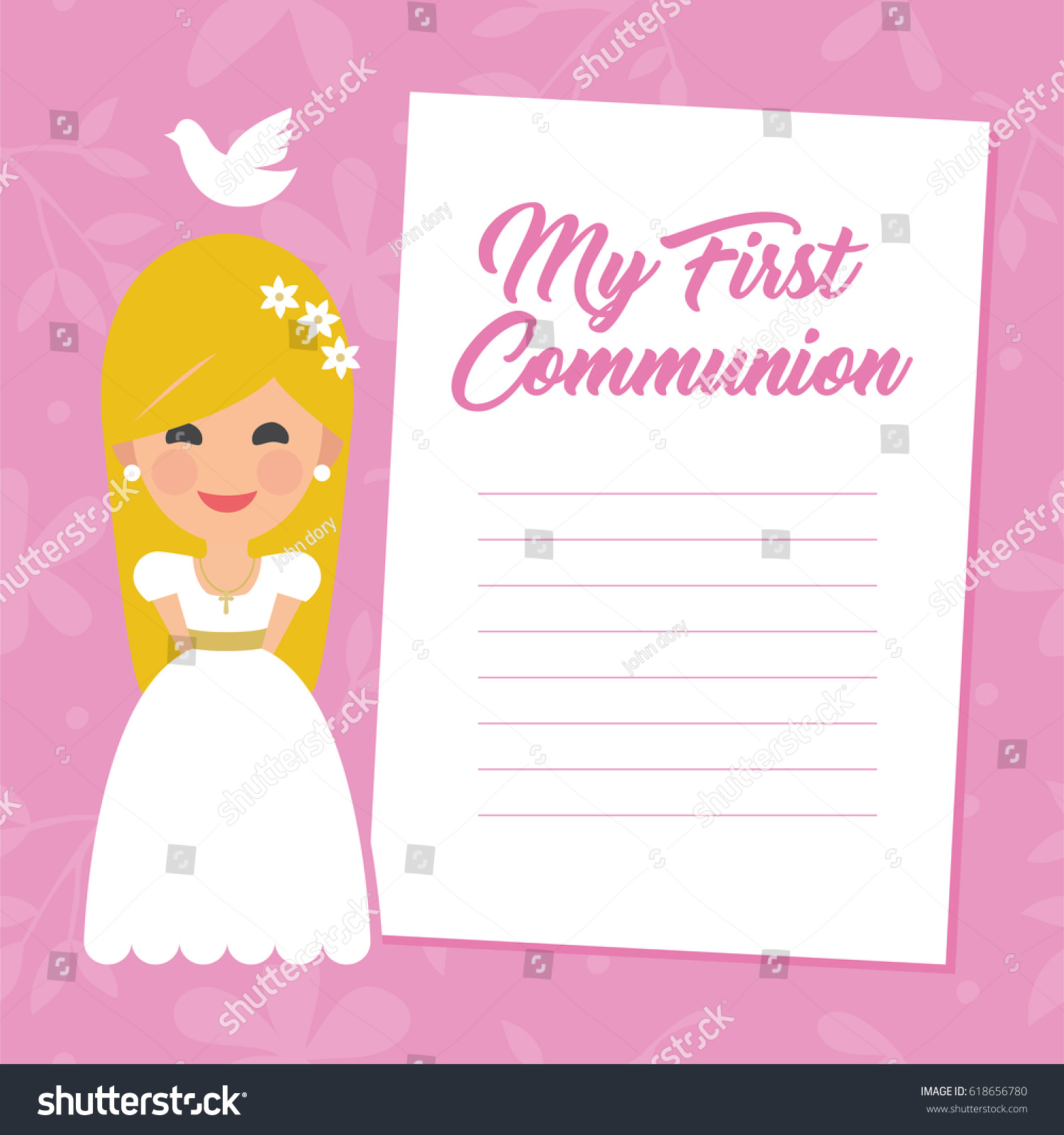 My first communion invitation message on stock vector 618656780 my first communion invitation with message on pink background vector kristyandbryce Choice Image