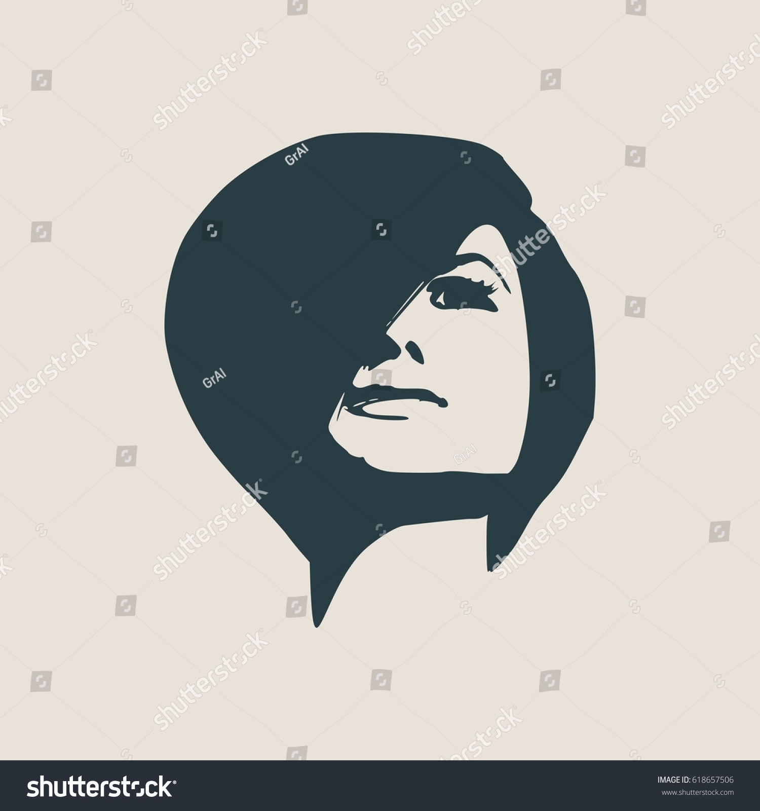 face front view elegant silhouette of a female head short hair