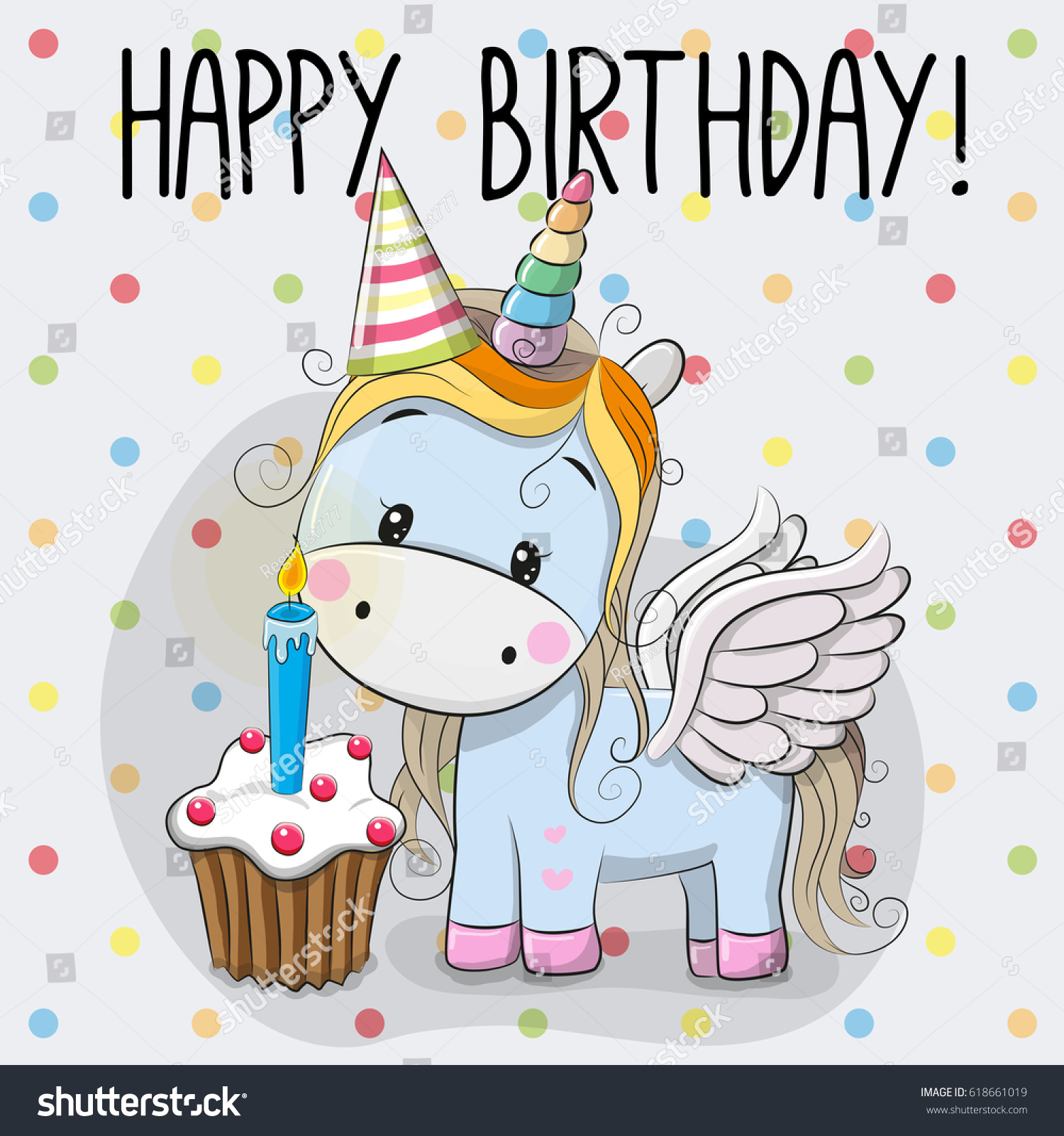 Greeting Card Cute Cartoon Unicorn Cake Stock Vector