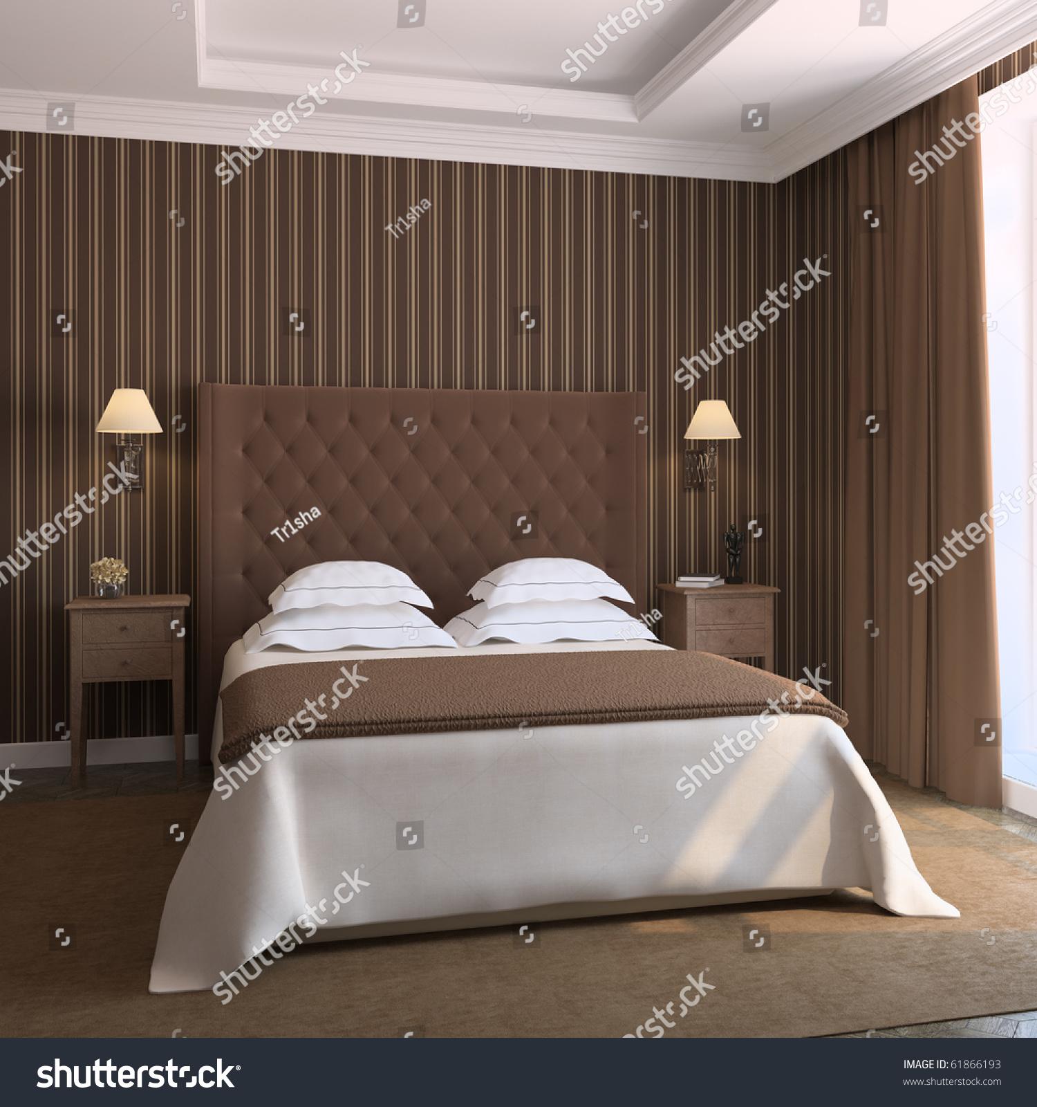 Modern Bedroom Interior Modern Bedroom Interior 3d Render Stock Illustration 61866193