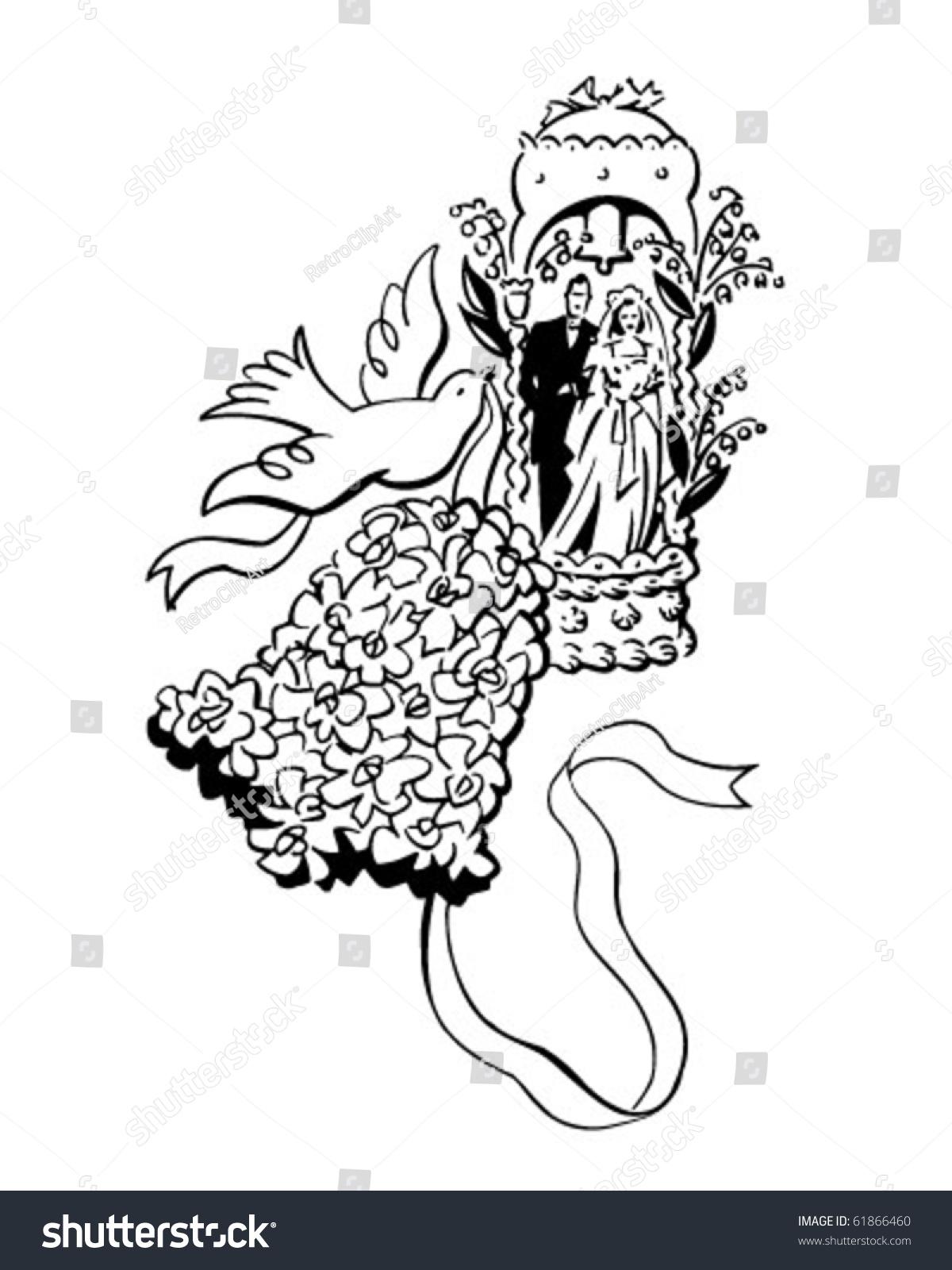 Bride Groom Bell Dove Wedding Motif Stock Vector (Royalty Free ...