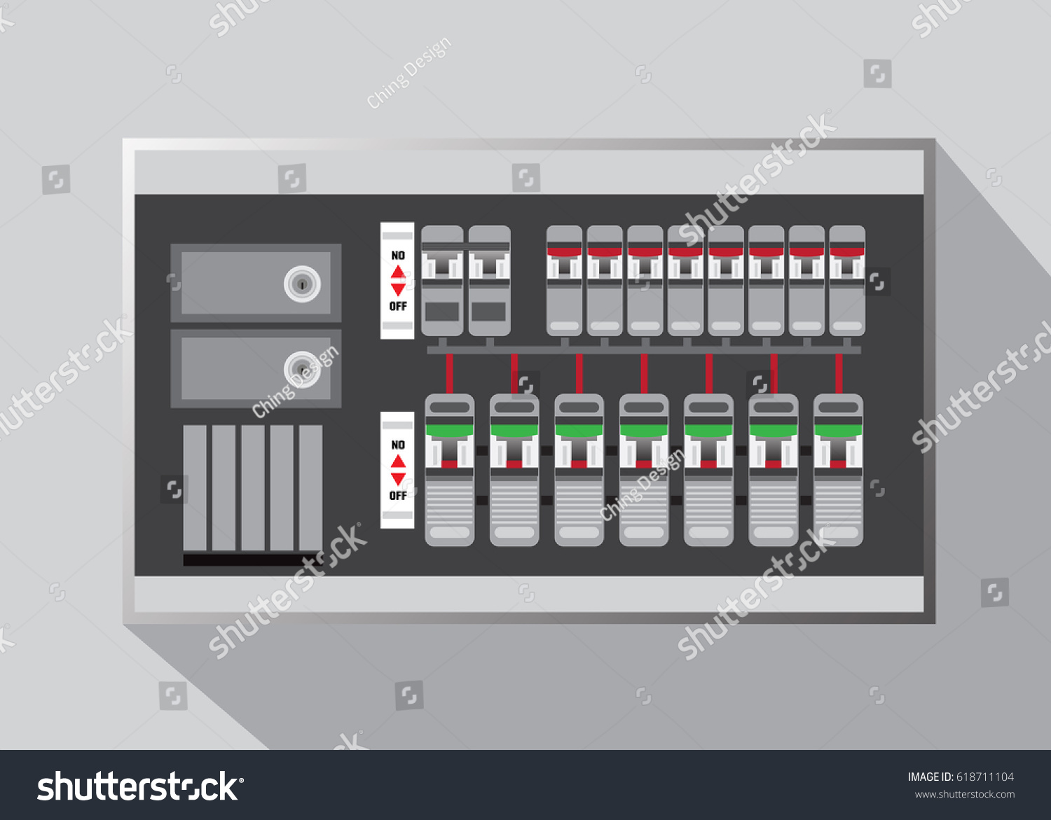 electrical panel switch on offbreakers vector stock vector