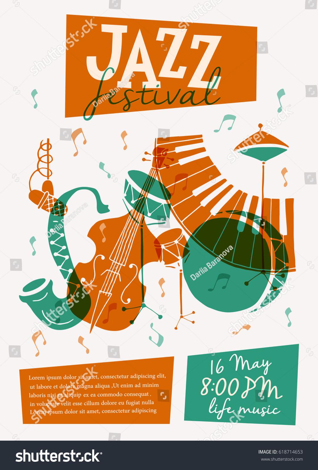 concert press release template - vector jazz festival poster template saxophone stock