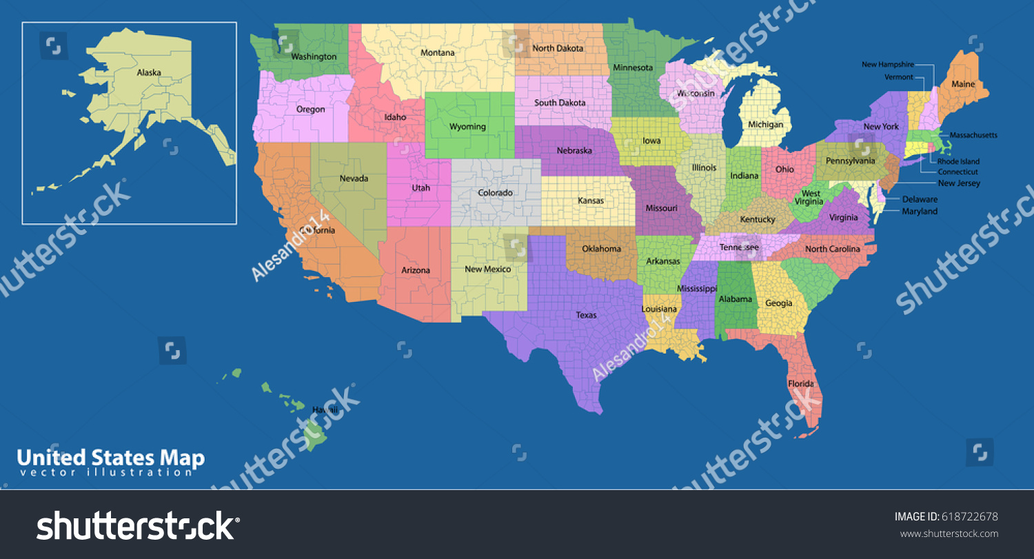 Map Of America States And Capital Cities United States Map Vector - Usa map with states and capitals and cities