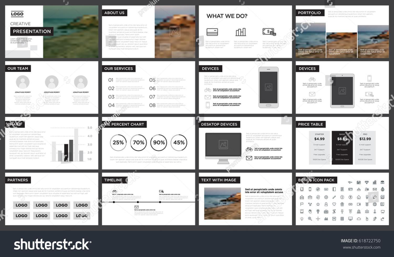 minimal black white presentation template you stock vector, Presentation templates