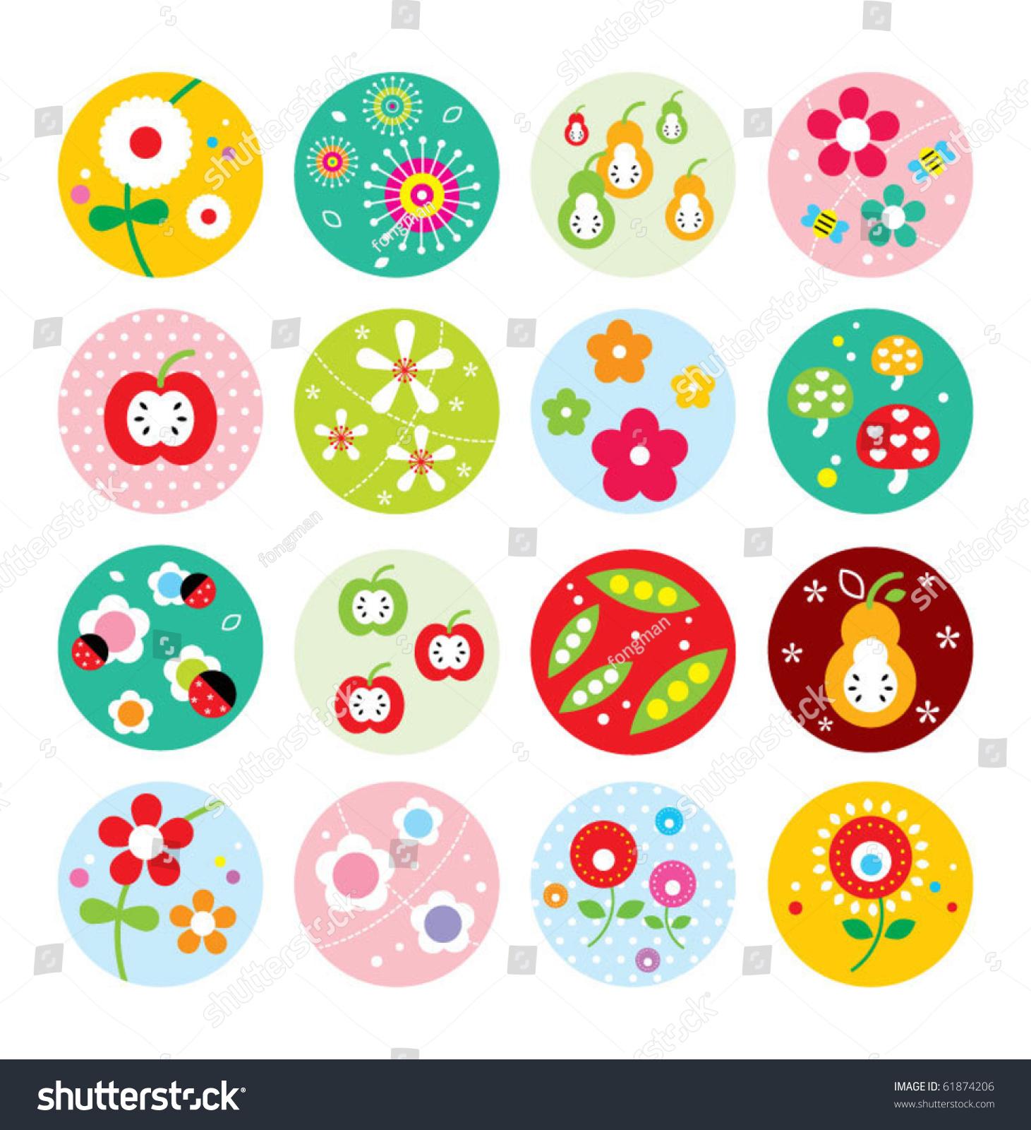 Pretty flower sticker stock vector 61874206 shutterstock pretty flower sticker dhlflorist Image collections