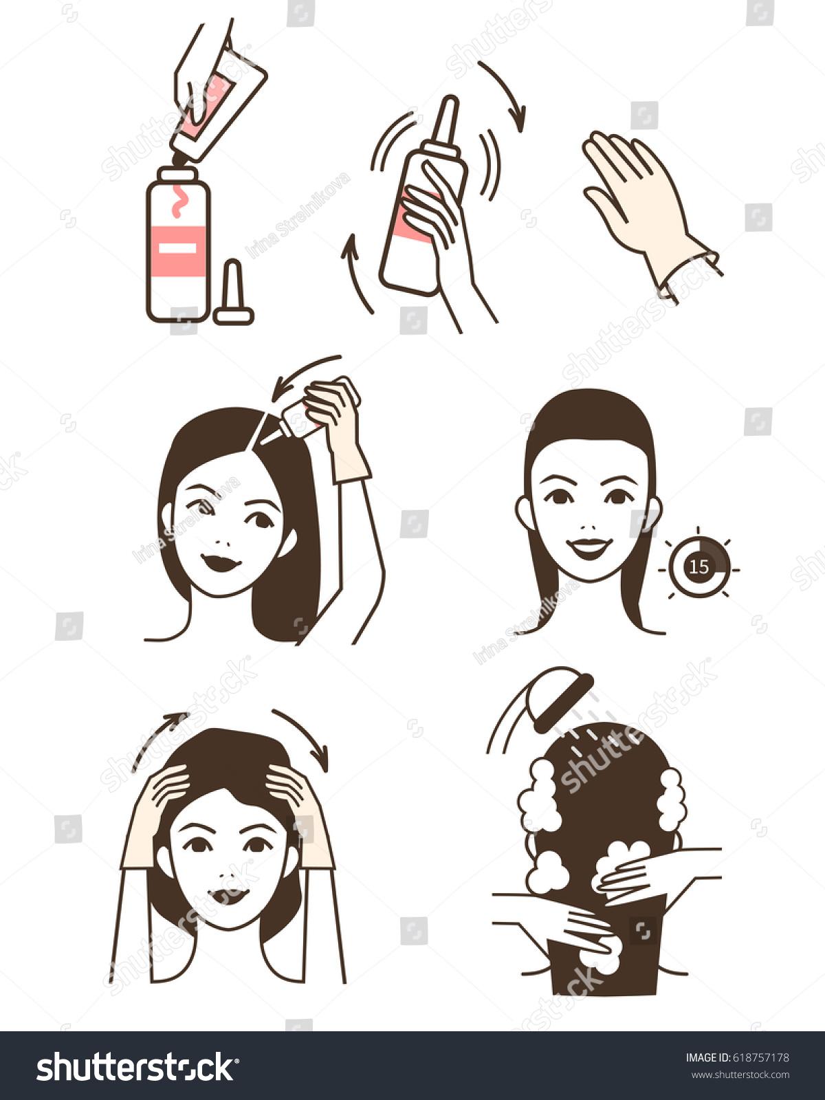 Steps How Apply Hair Dye Vector Stock Vector (Royalty Free ...