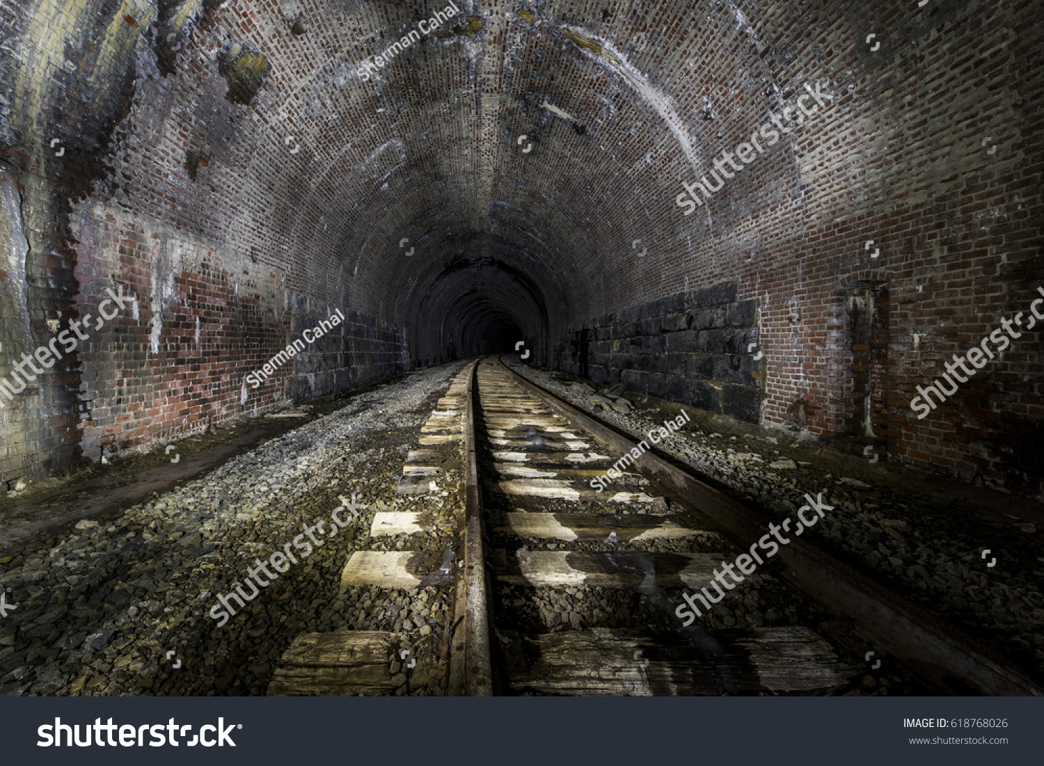 Inside Long Abandoned Railroad Tunnel Baltimore Stock Photo (Edit