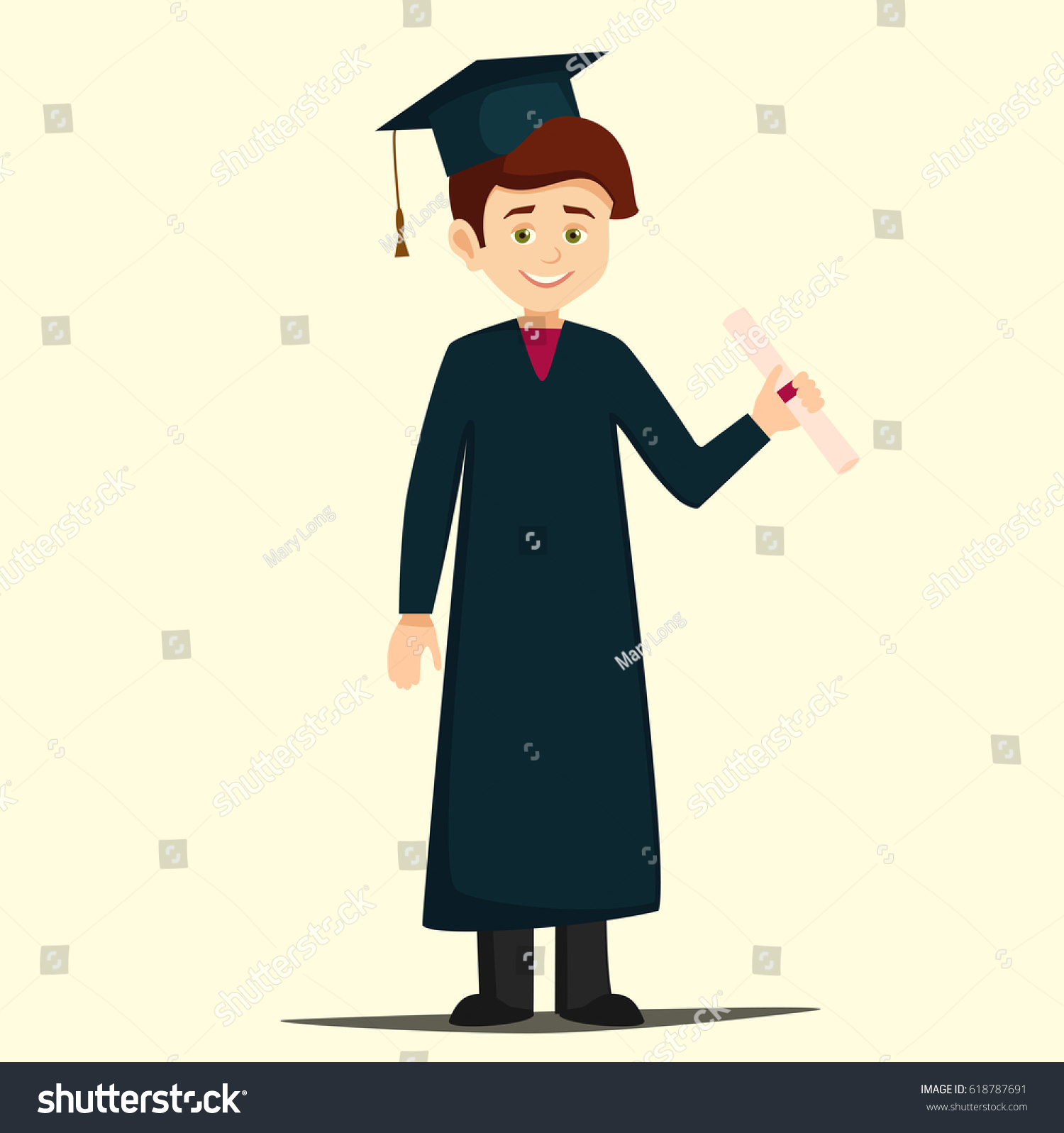 student graduation.graduate dressed in a robe and cap pointing at ...