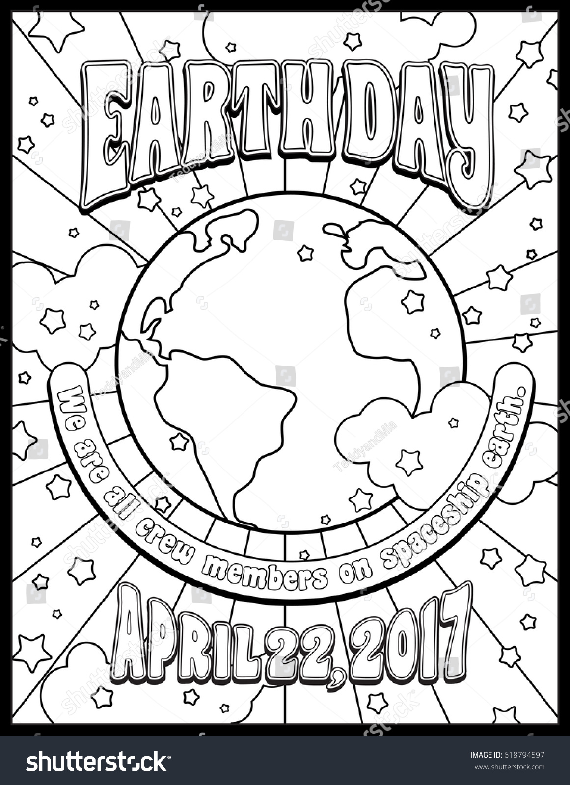 Earth Day Poster Design Coloring Page Stock Photo (Photo, Vector ...