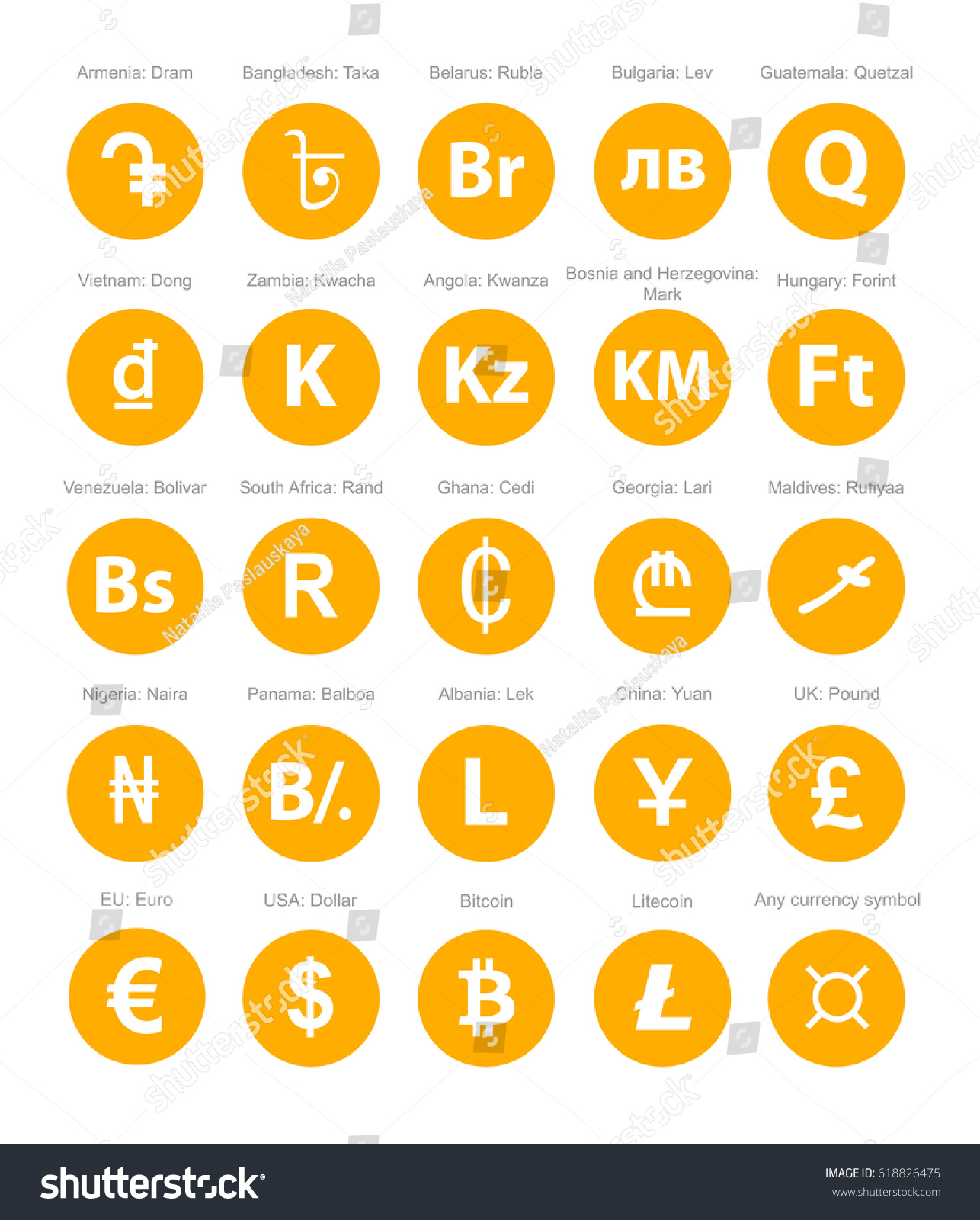 Currency symbol set stock vector 618826475 shutterstock currency symbol set biocorpaavc