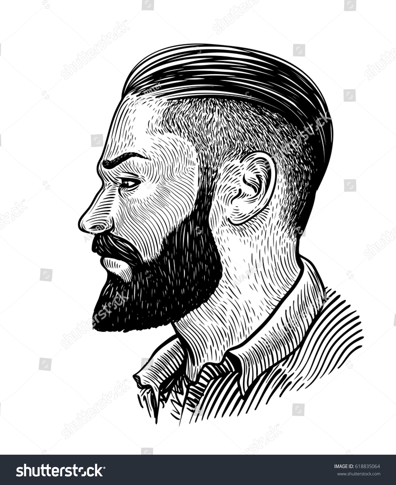 Hand Drawn Portrait Bearded Man Profile Stock Vector ...