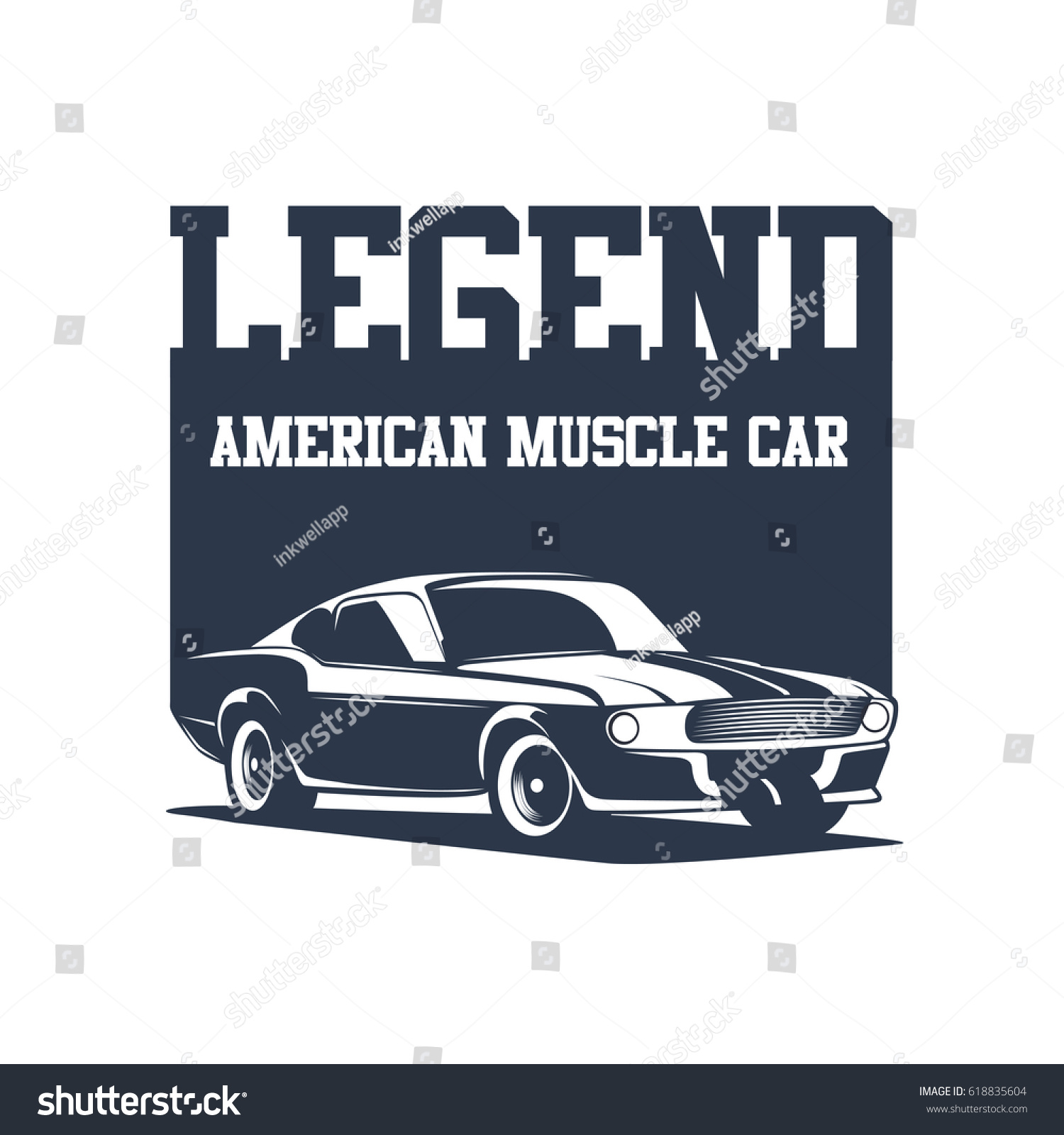 Old School Muscle Cars Inspired Stock Vector 618835604 - Shutterstock