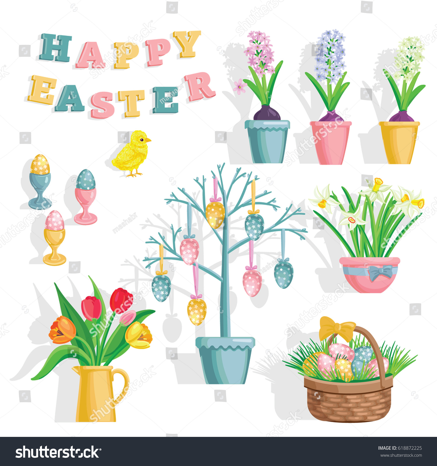 Spring Flowers Growing Garden Bouquet Basket Stock Vector 618872225