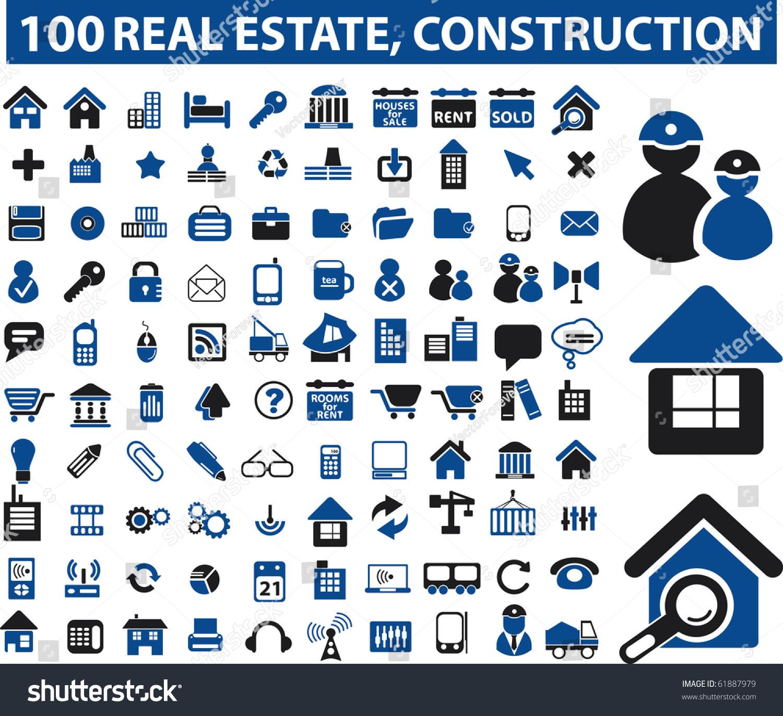 Real Estate Construction : Real estate construction signs raster version stock