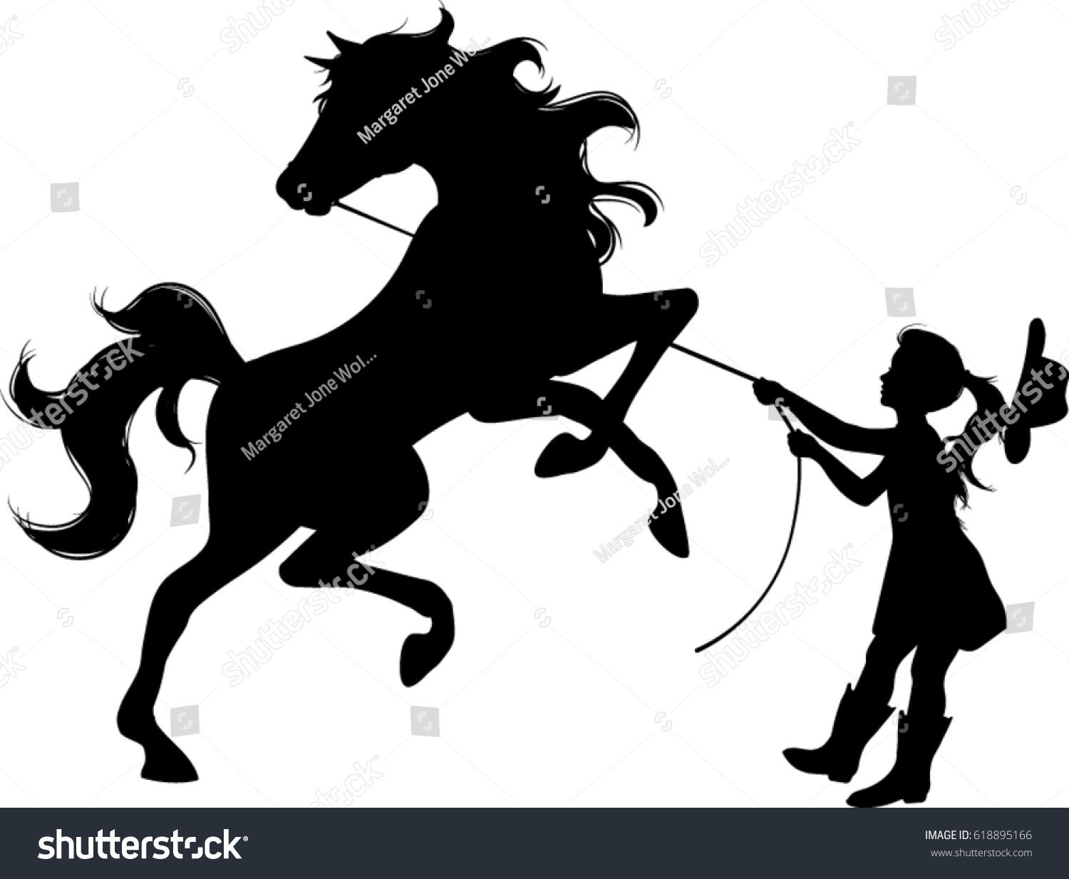 Cowgirl Wild Horse Silhouette Vector Illustration Stock Vector Royalty Free 618895166