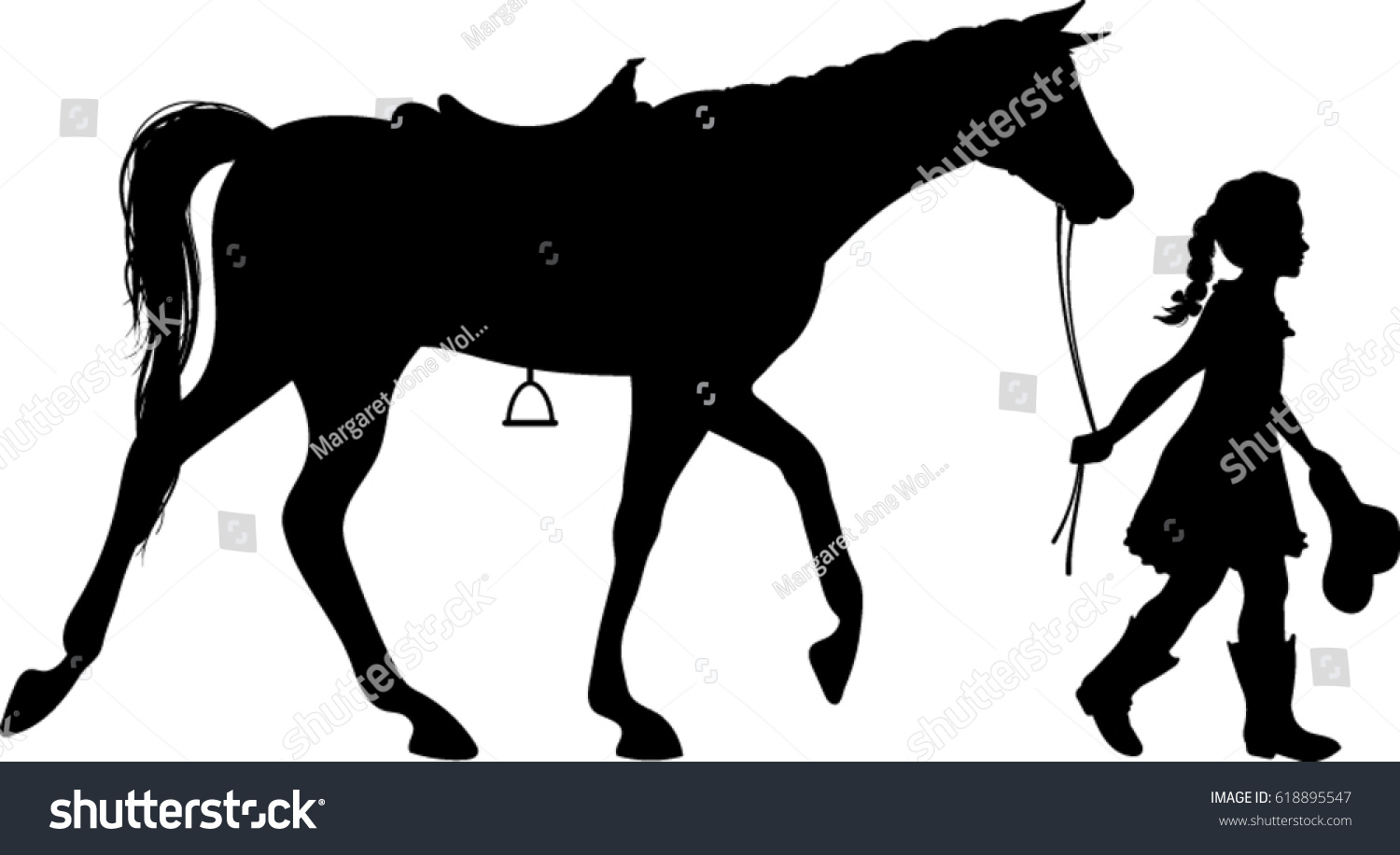 Cowgirl Walking Horse Silhouette Vector Illustration Stock Vector Royalty Free 618895547