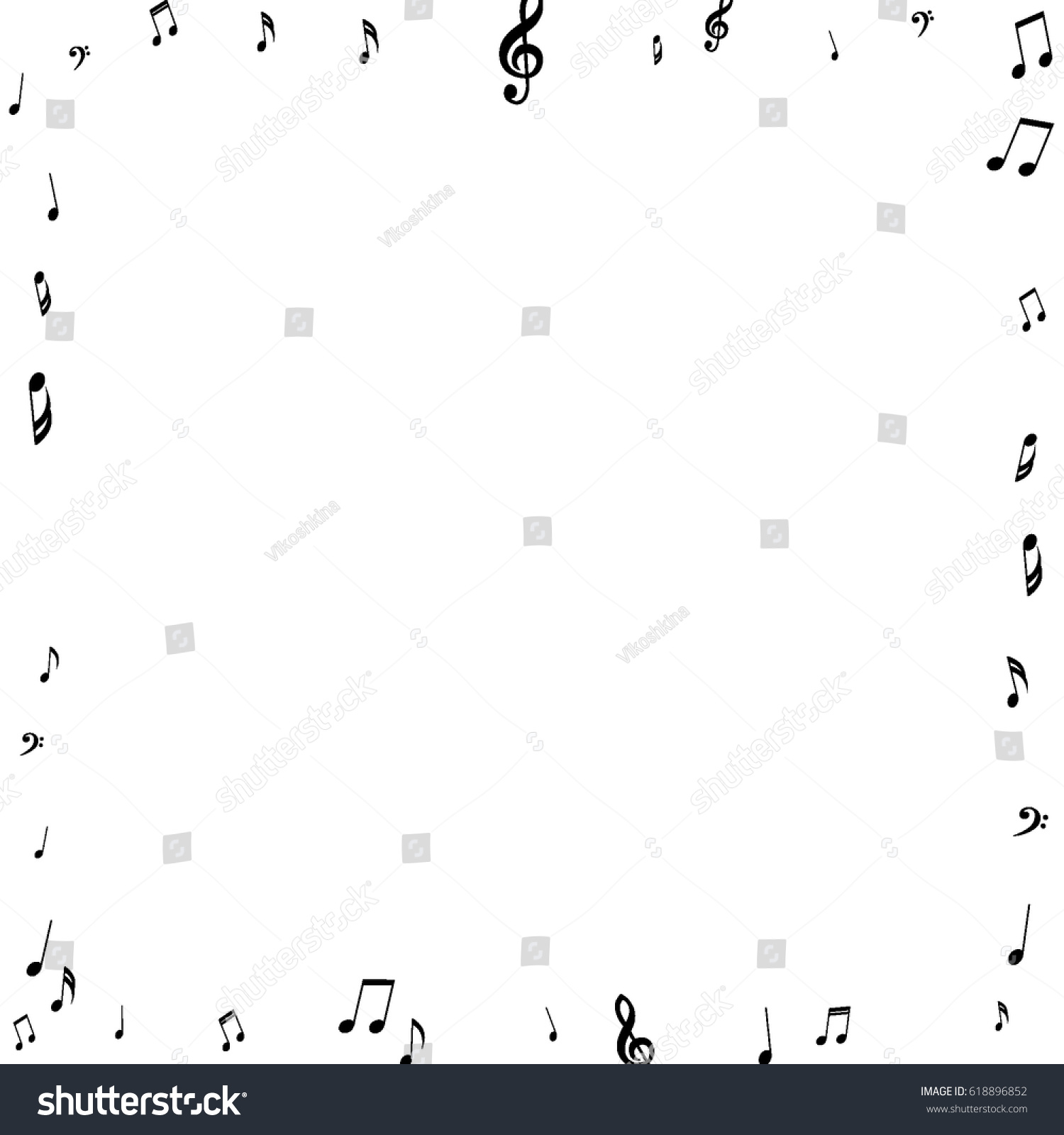 Square Frame Music Notes Treble Bass Stock Vector 618896852 ...