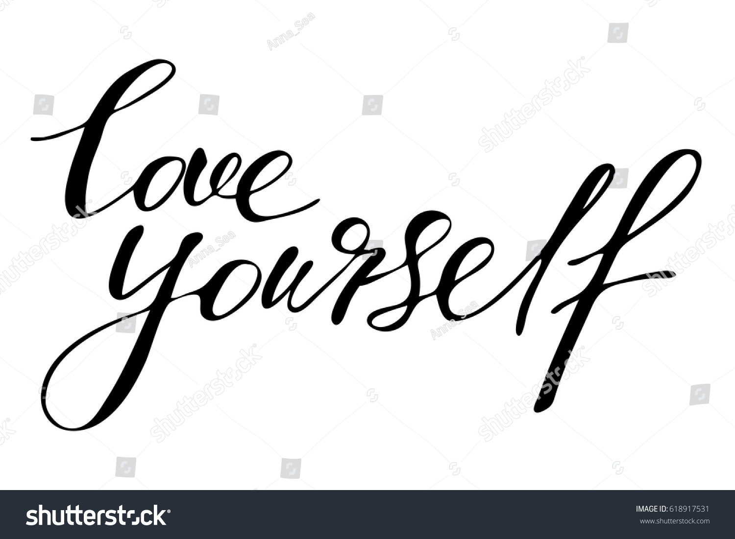 phrase lettering writing quote love yourself のベクター画像素材