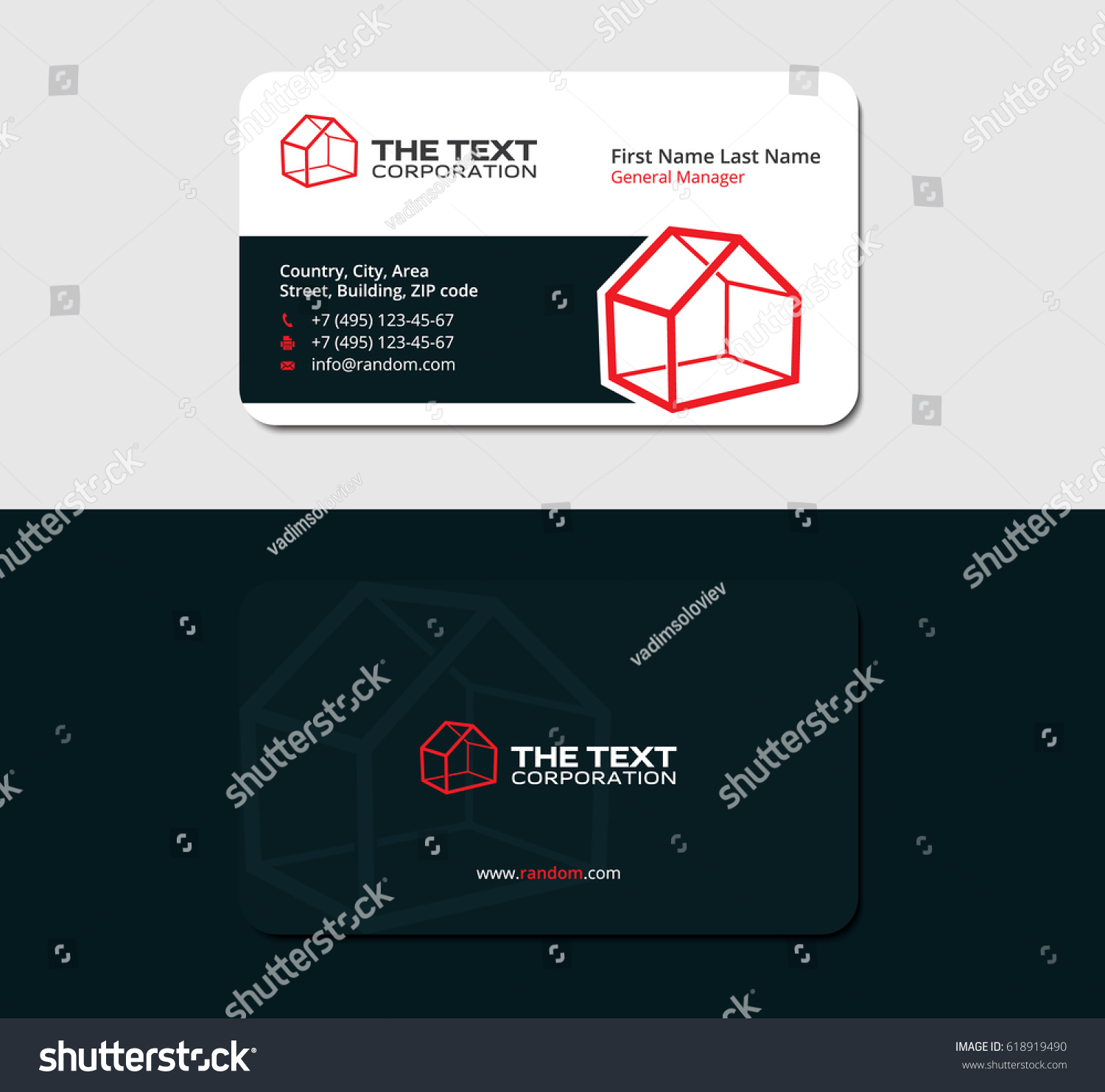 Creative Business Card Template D Red Stock Vector - 3d business card template