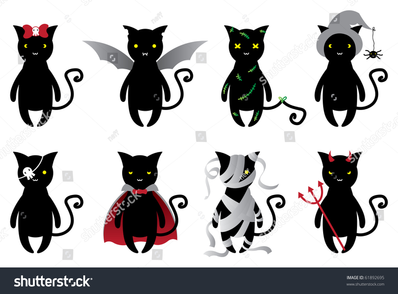 Halloween Cats Set Stock Vector 61892695 - Shutterstock