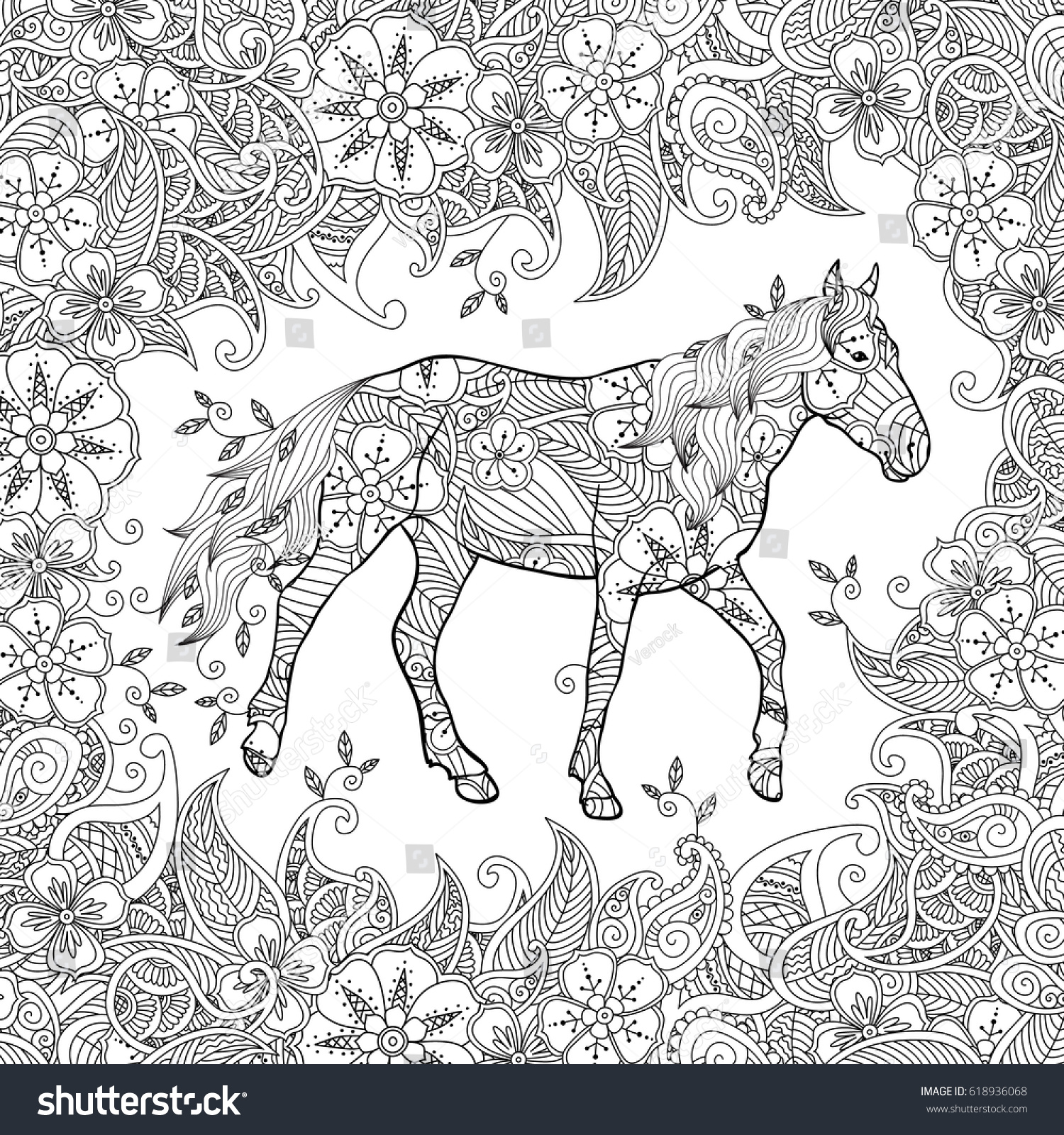 Coloring Page Zentangle Inspired Style Running Stock Illustration ...