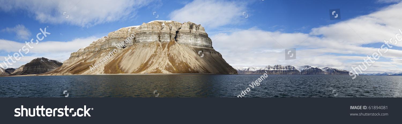 View Skansen Cliffs Billefjorden Svalbard Norway Stock Photo (Edit