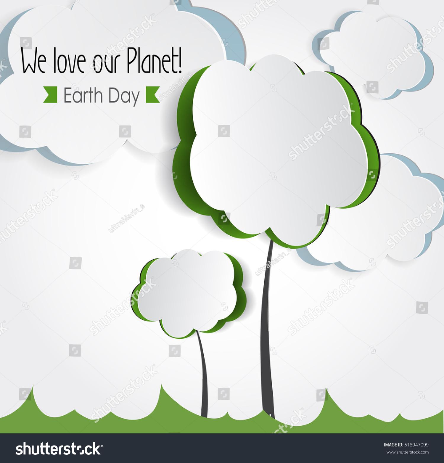 Environmental Concept Earthfriendly Landscapes: Vector Earth Day Eco Friendly Ecology Stock Vector