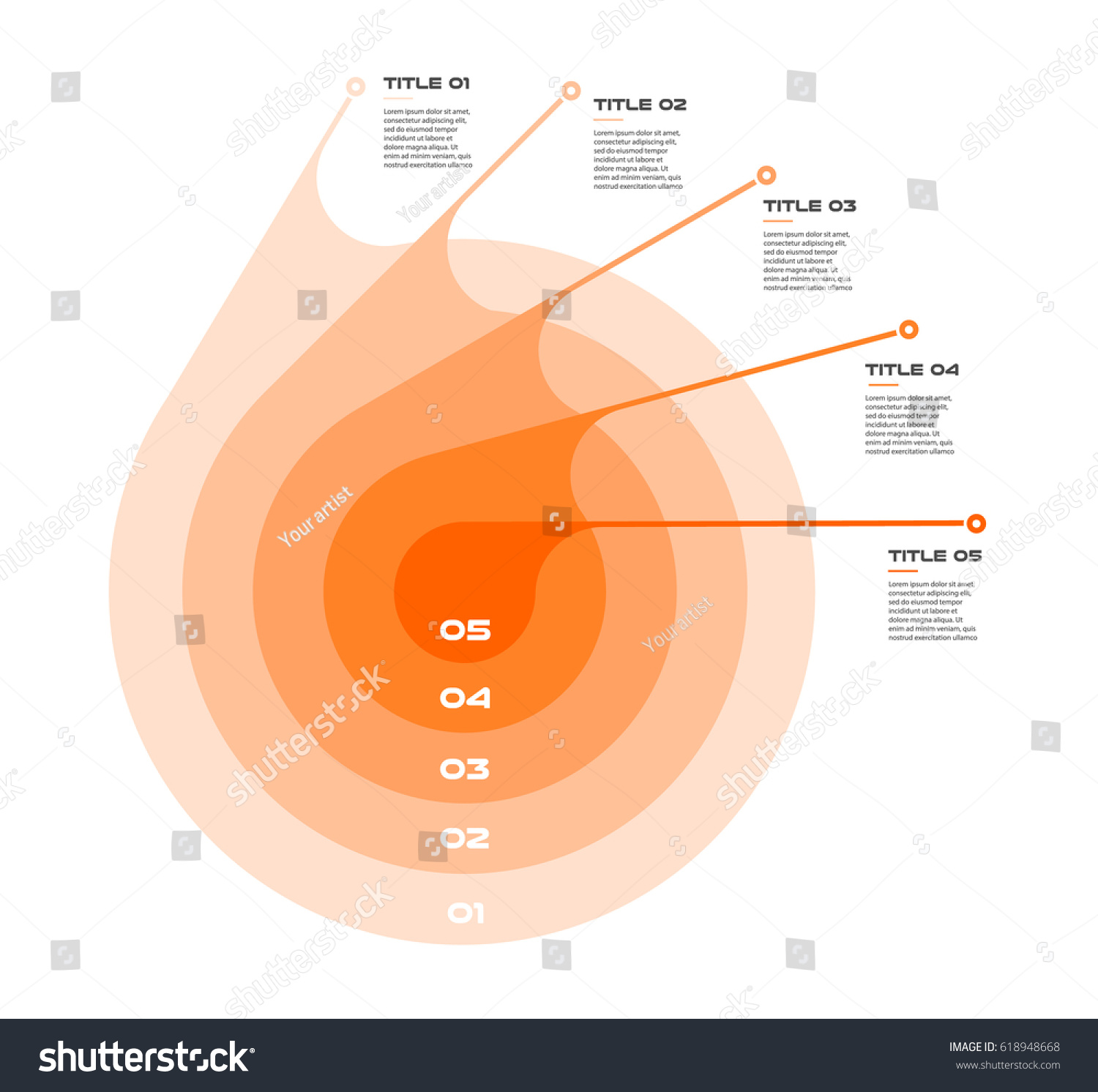 Concentric infographics step by step series stock vector 618948668 concentric infographics step by step in a series of circle element of chart graph pooptronica Choice Image