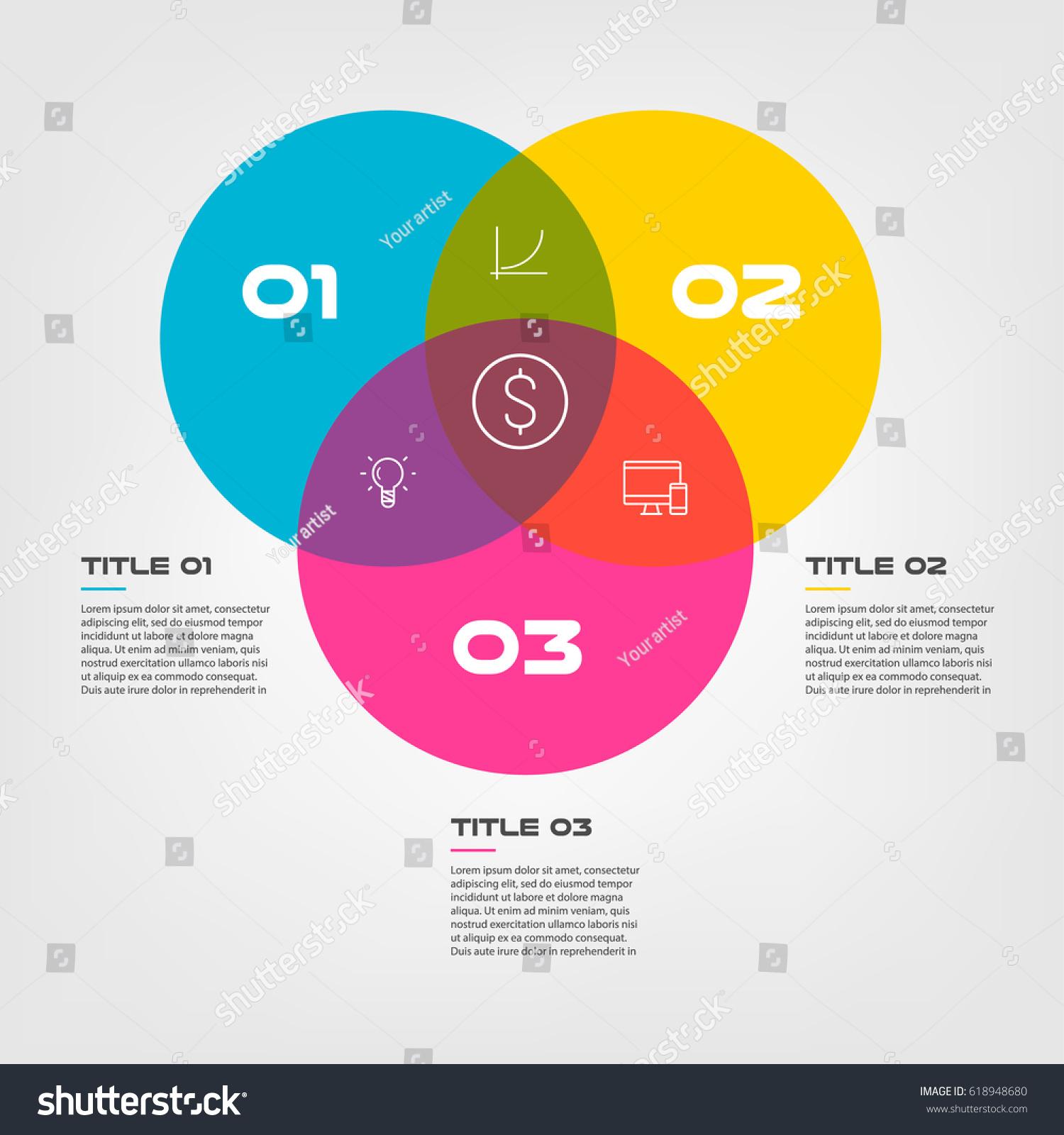 Visio Venn Diagram: Venn Diagram Infographics Three Circle Design Stock Vector