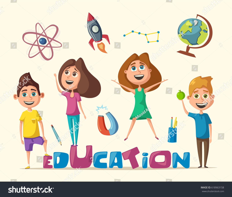 Children Education Banner Cartoon Vector Illustration Stock Vector Royalty Free 618963158