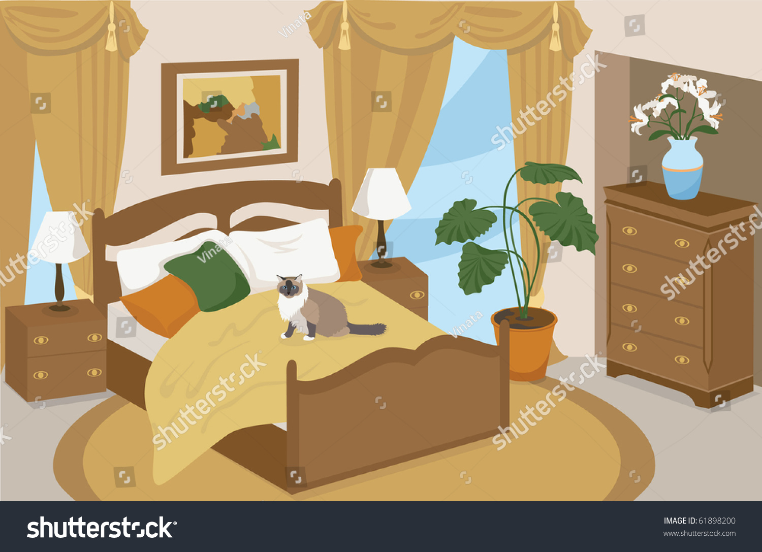 Bedroom drawing with color - Bedroom Drawing Bedroom Drawing Stock Vector 61898200 Shutterstock
