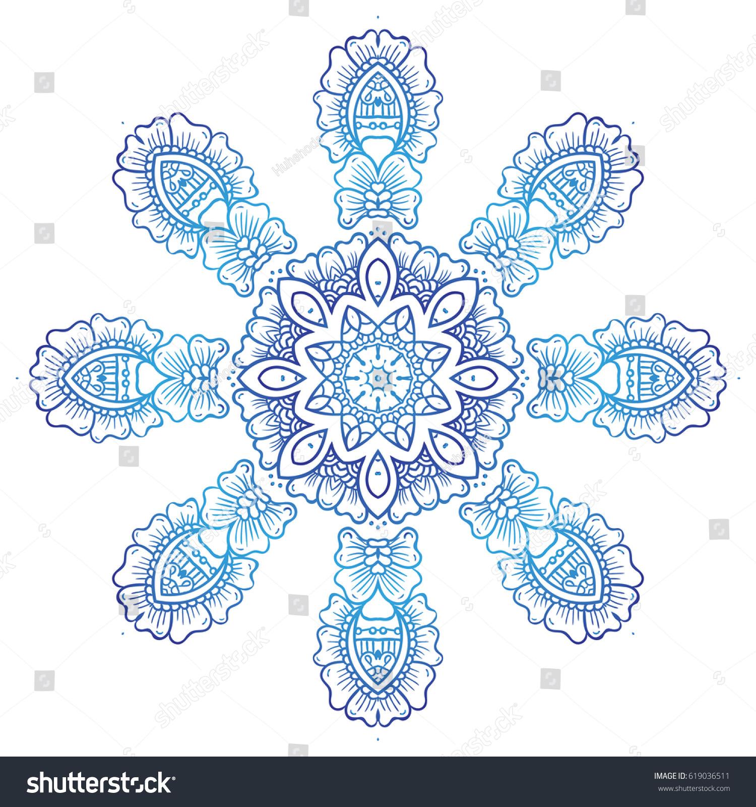 d1b6bf1a0 Circular floral ornament Mehndi Henna Tattoo Mandala, Yantra blue. Vintage  vector banner frame card