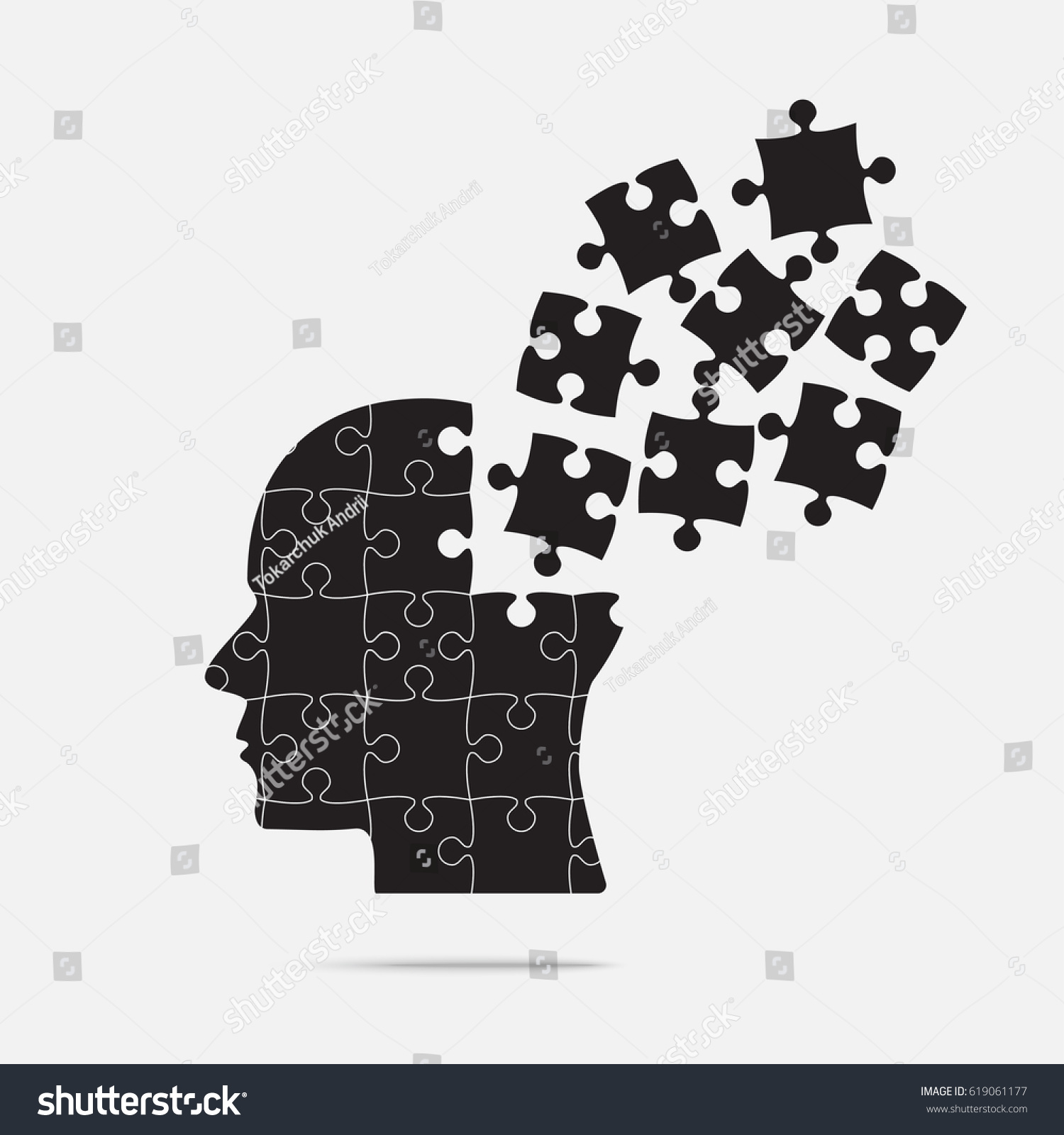 Black Puzzle Piece Silhouette Head Grey Stock Vector (Royalty Free ...