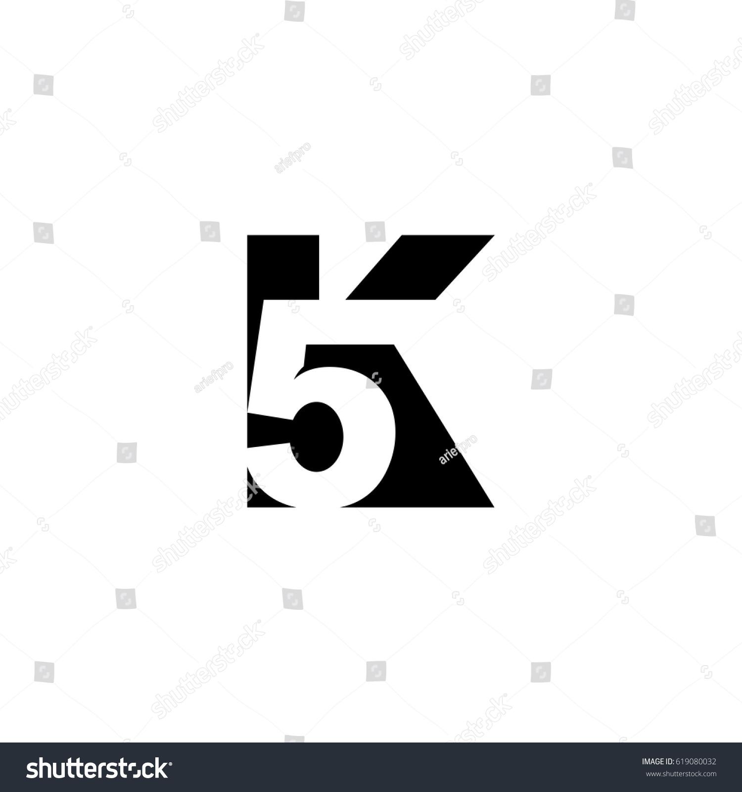 initial letter number logo k 5 stock vector 619080032 shutterstock